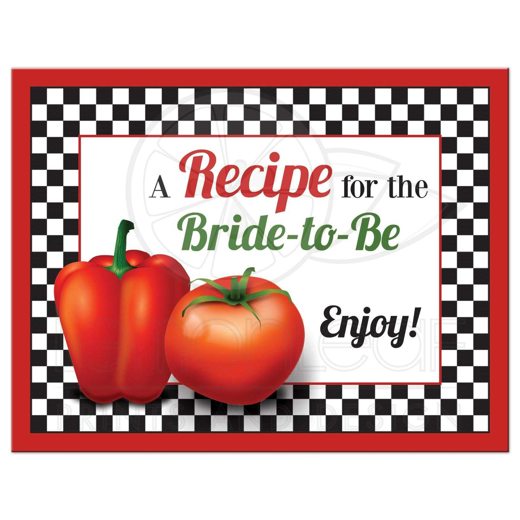 Kitchen Bridal Shower Recipe Card | Retro Italian Red Tomato Pepper