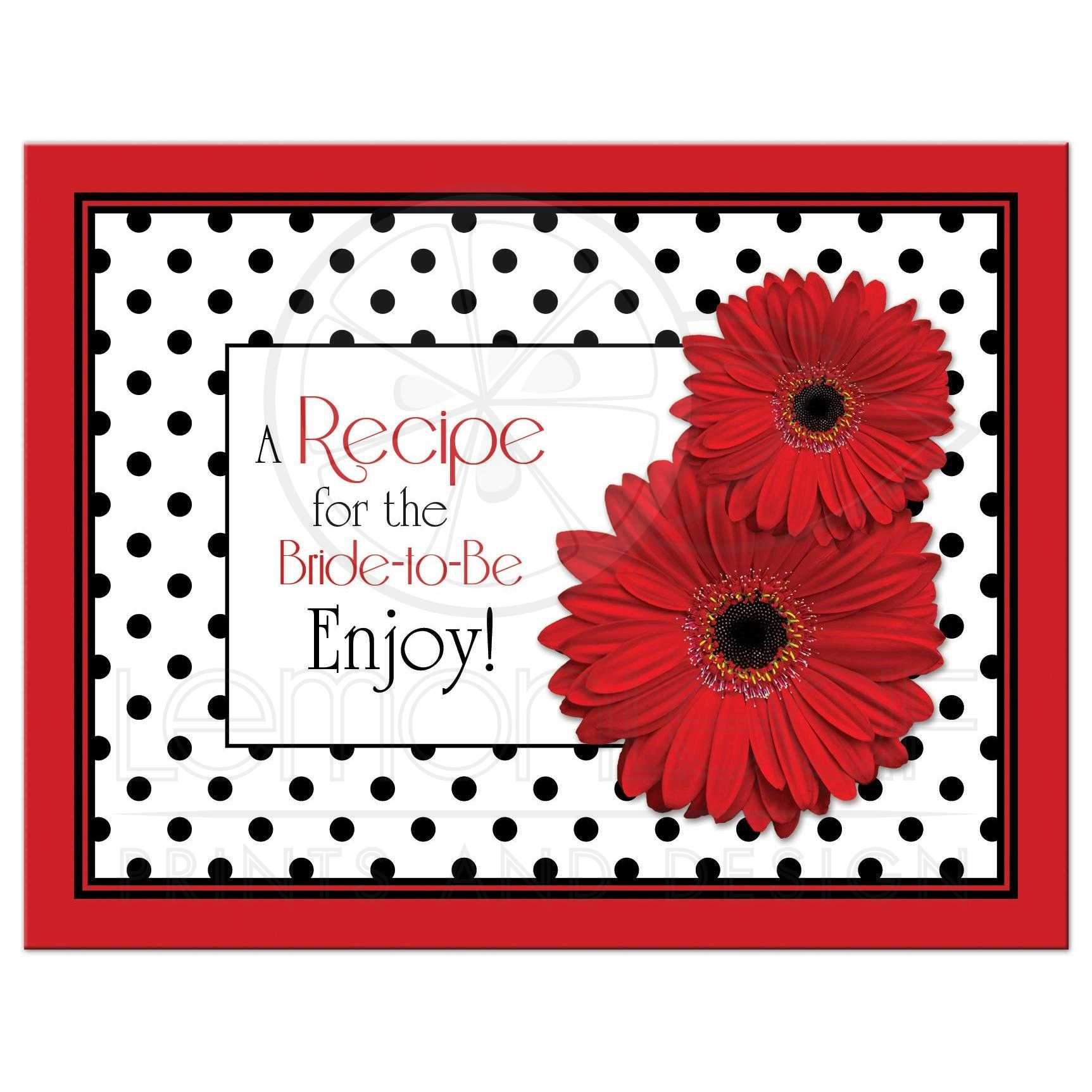 black and white polka dot red gerbera daisy bridal shower recipe card front