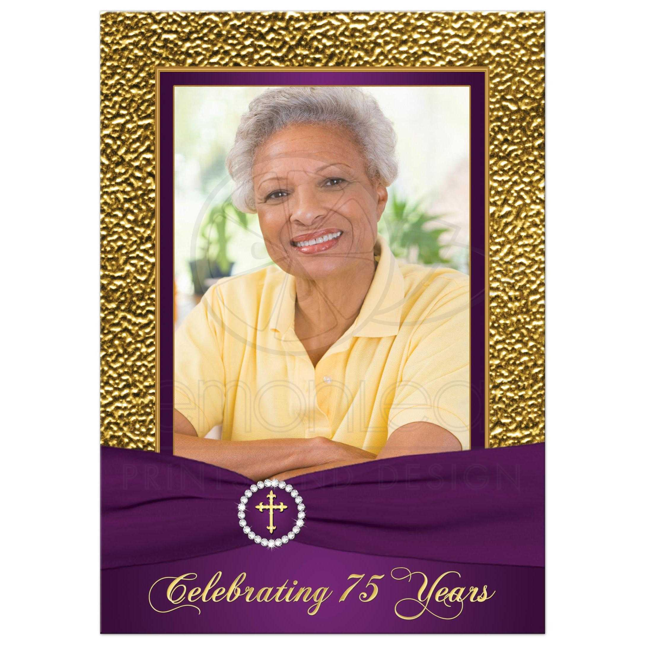 Purple And Gold Floral 75th Milestone Birthday Invitation With Photo Template