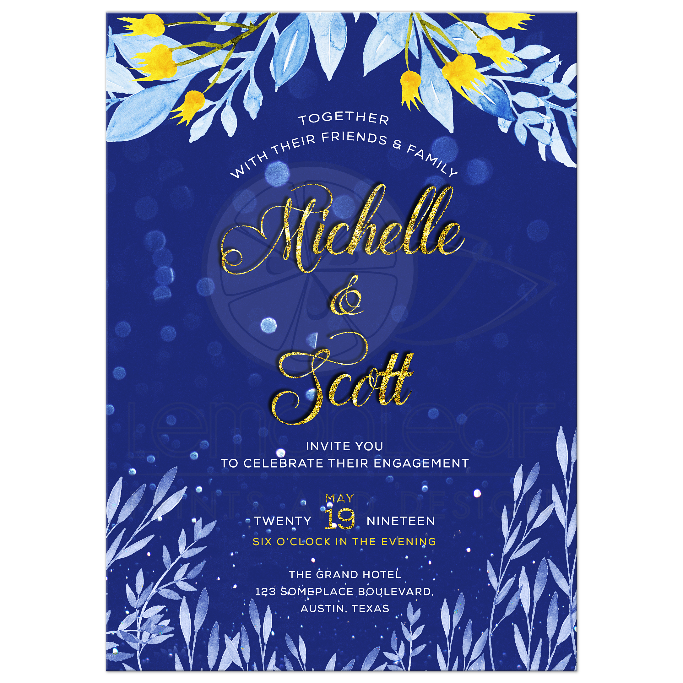 Yellow Flowers Blue Watercolor Wedding Engagement Invite