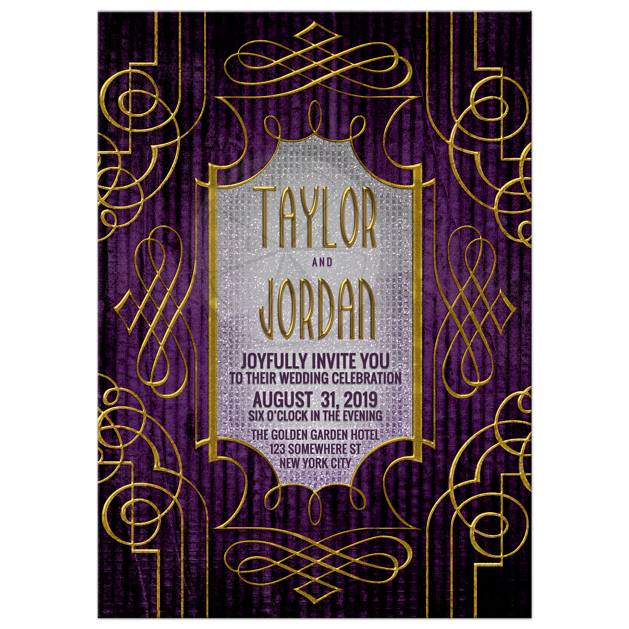 Gold And Purple Wedding Invitations: Purple And Gold Wedding Invitation