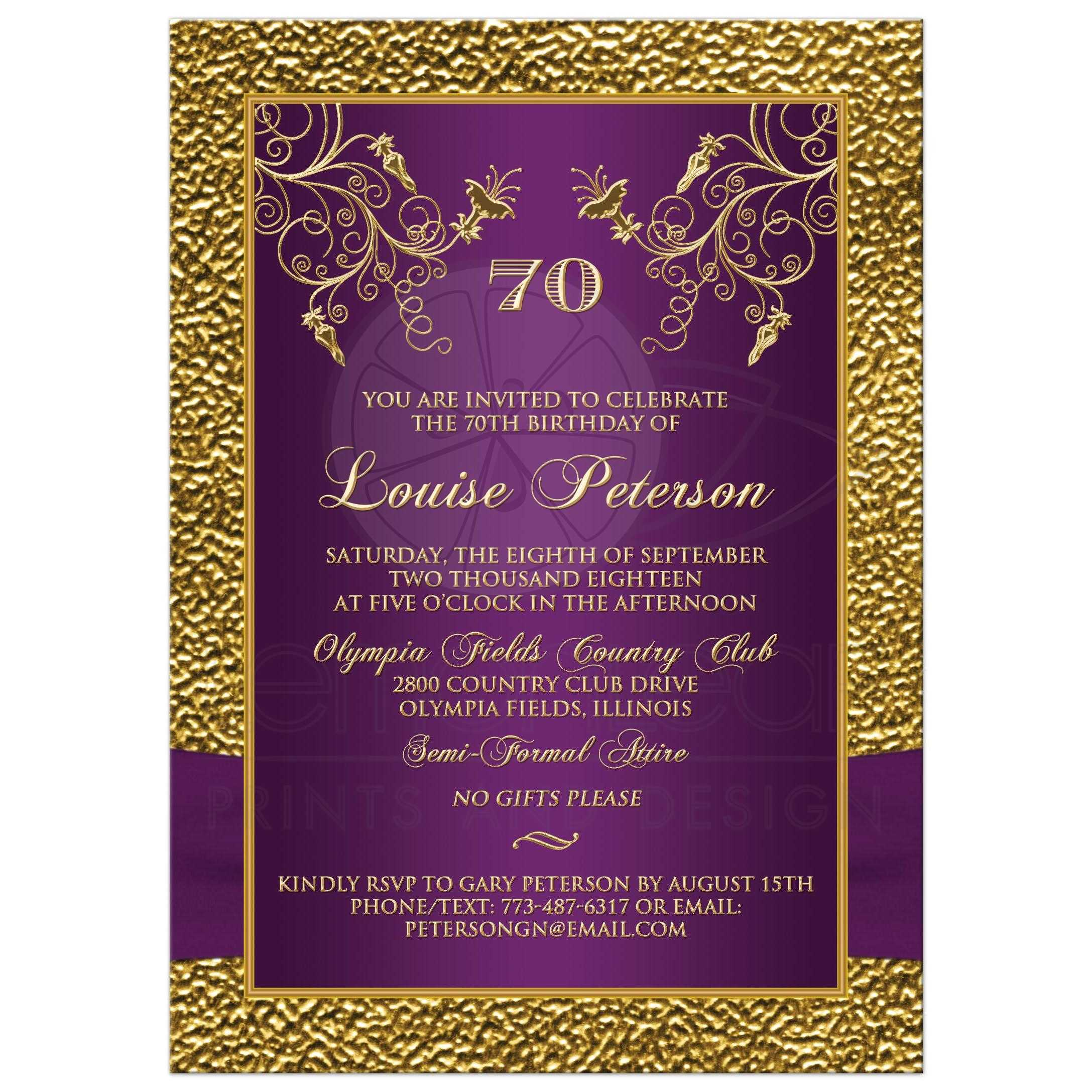 Purple And Gold Floral 70th Milestone Birthday Invitation With Photo Template