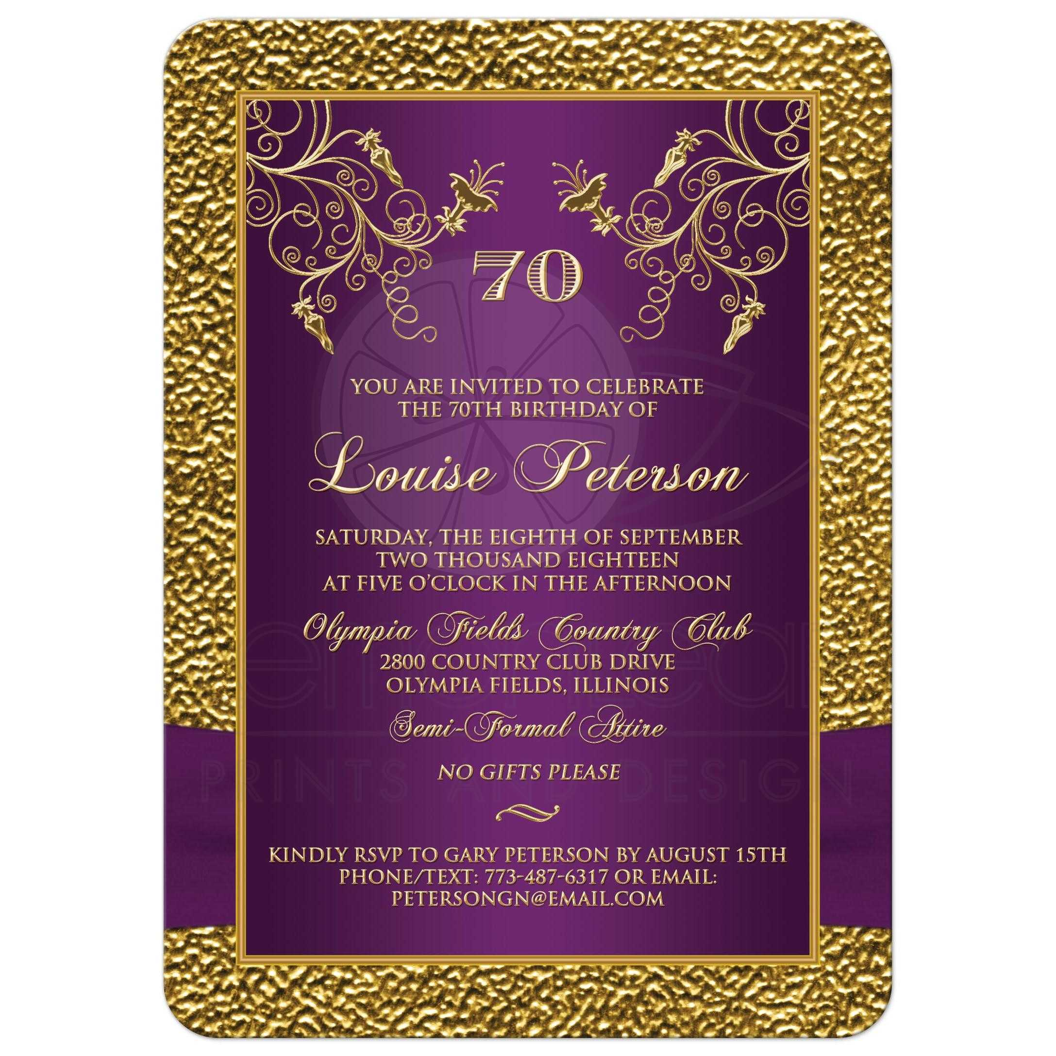 photo template purple gold 70th birthday invite printed ribbon
