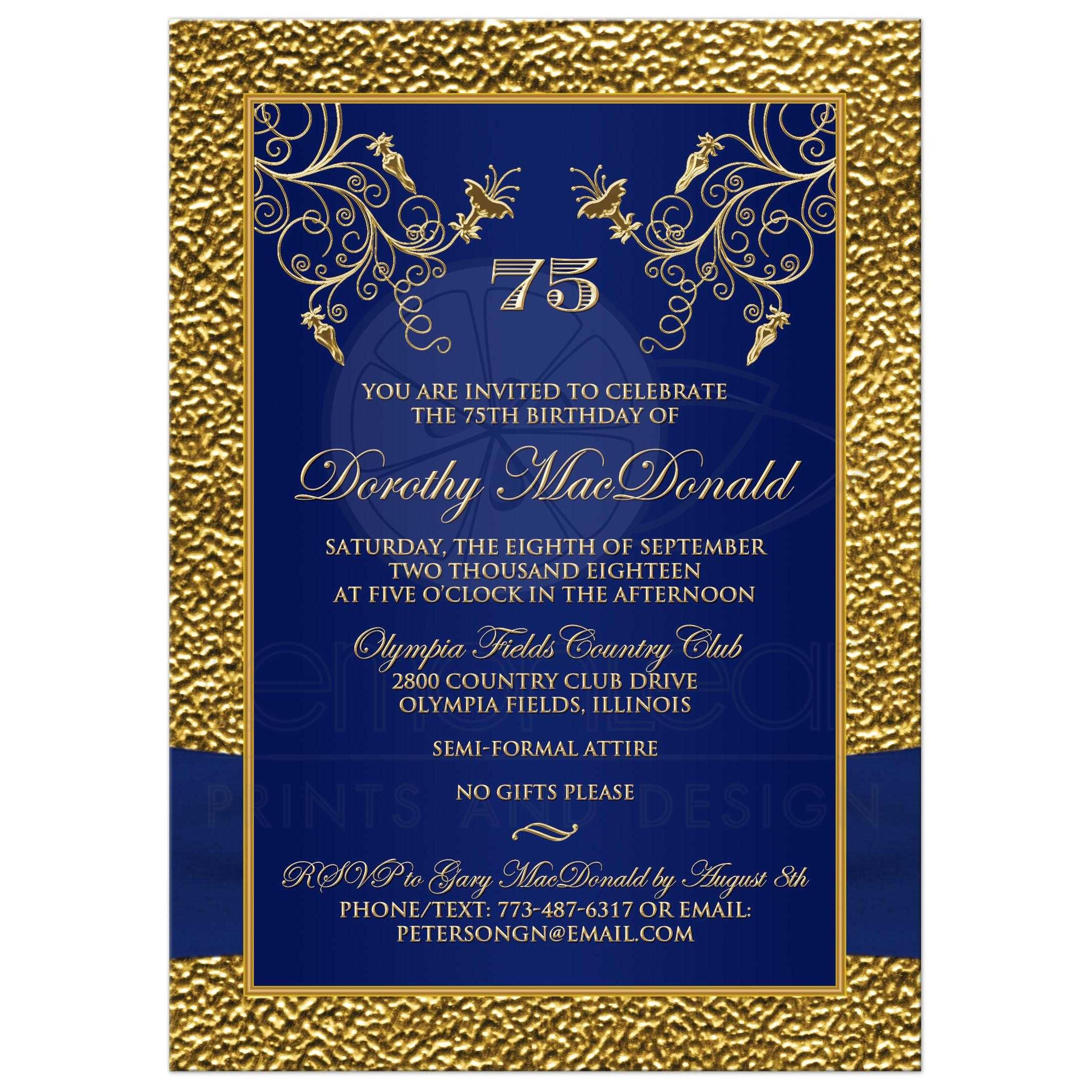printed ribbon and jewels photo template gold  navy blue