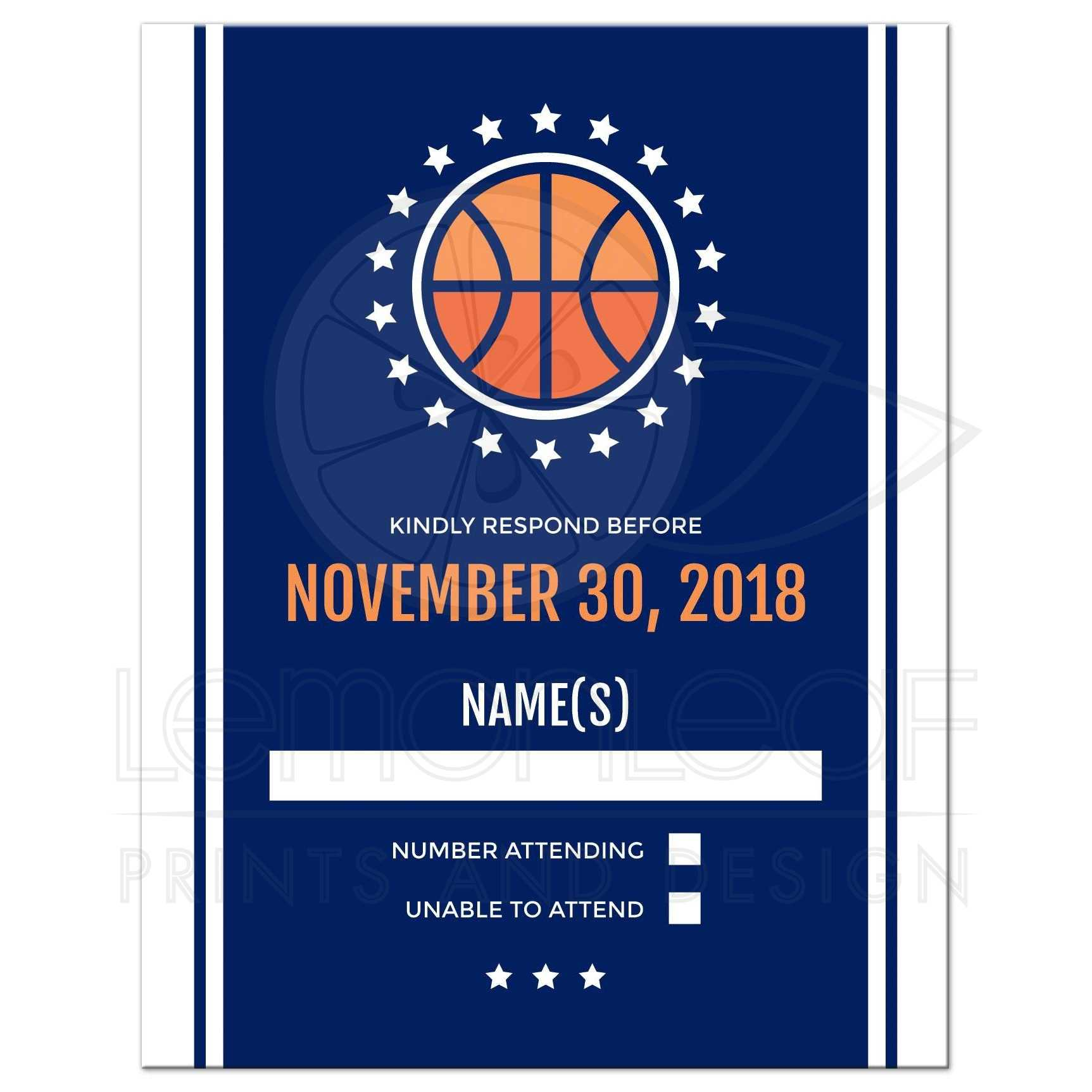 Basketball bar mitzvah RSVP card Navy blue design with white borders