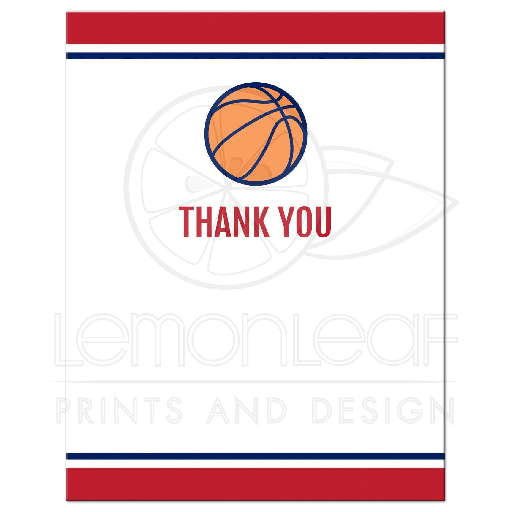 basketball bar mitzvah thank you cards red and navy blue design