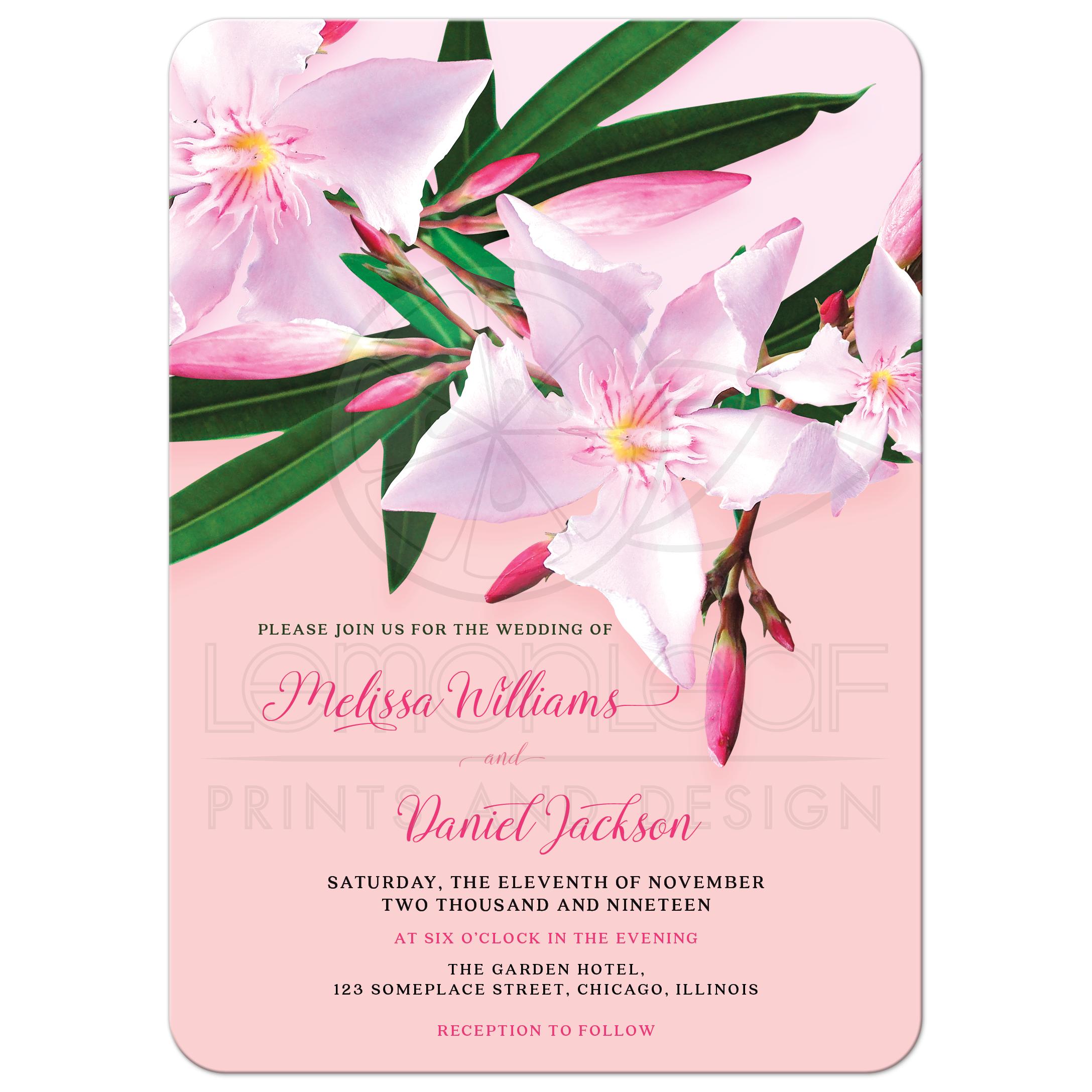 Pink Flower Wedding Invitation Pink Oleander
