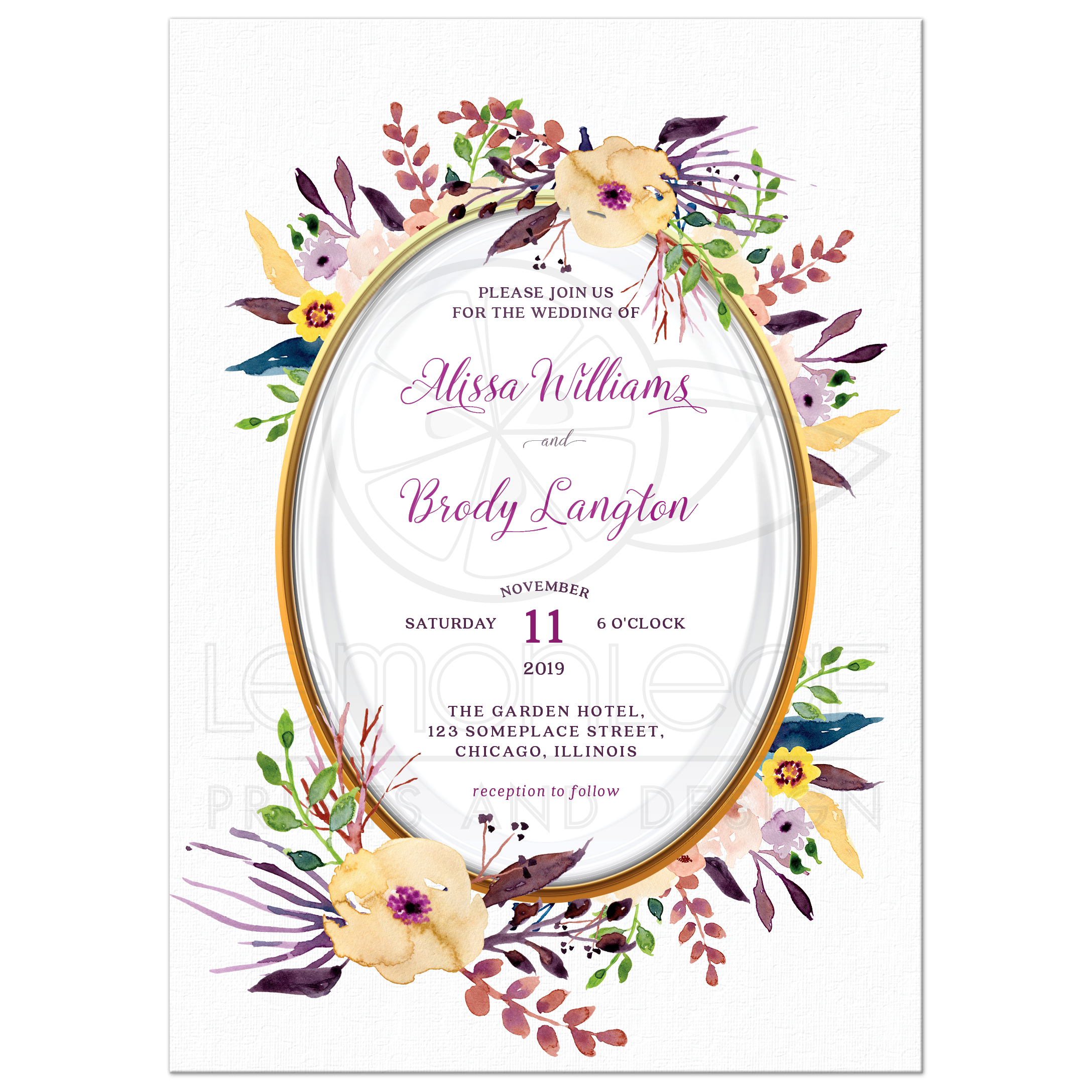 Oval Watercolor Flower Border Wedding Invitation