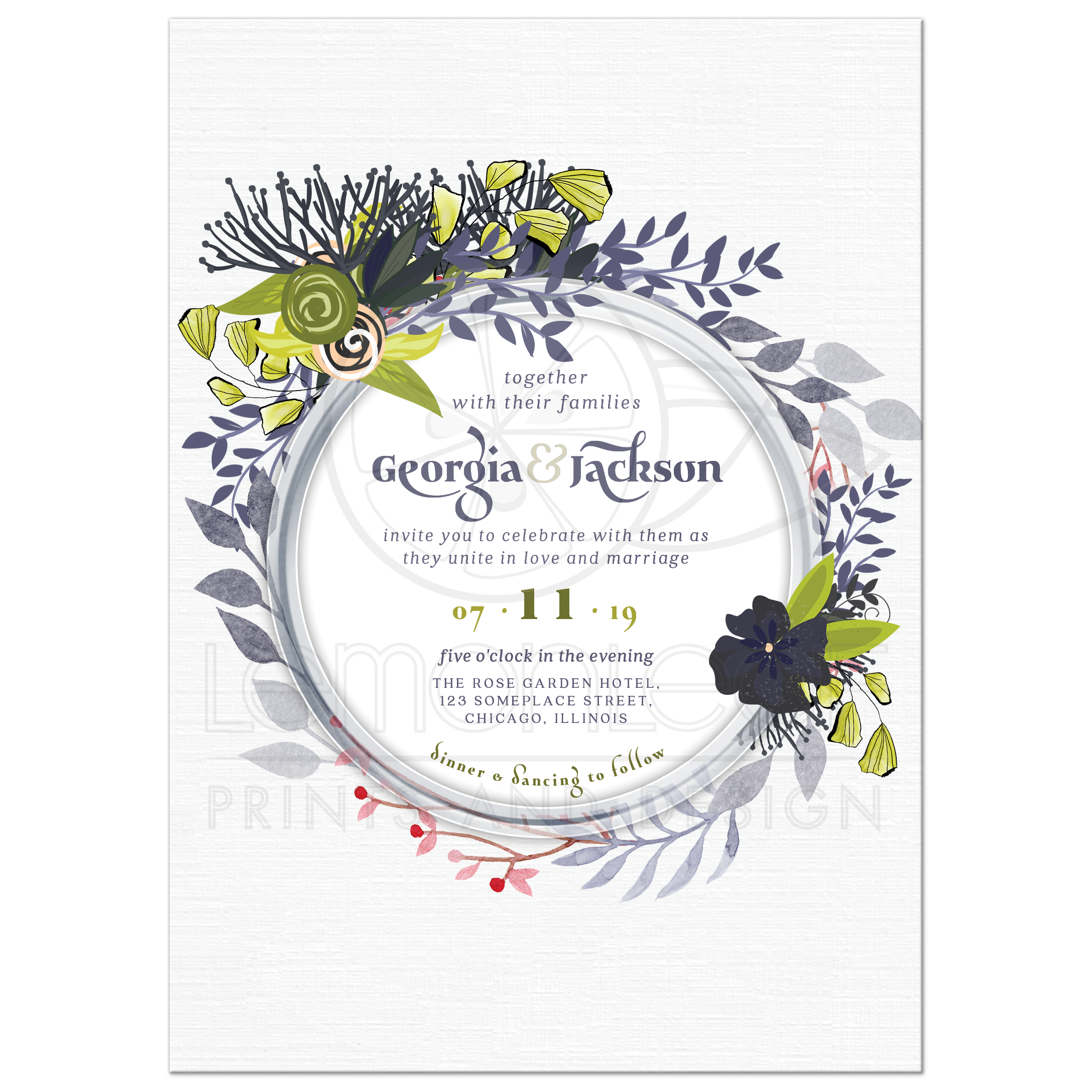 floral wreath wedding invitation green and purple
