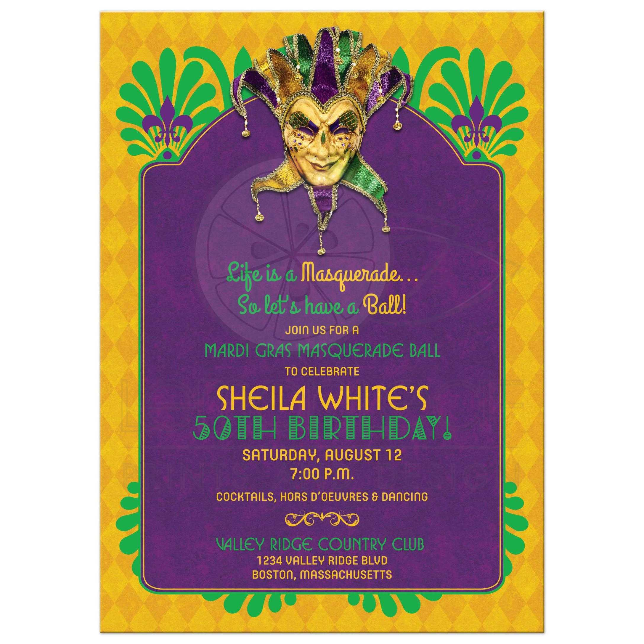Purple Green And Gold Mardi Gras Masquerade Ball 50th Birthday Party Invitation Front