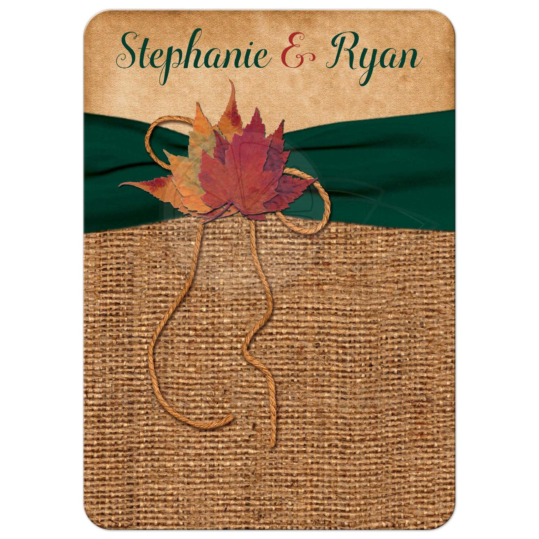 Rustic Autumn Leaves Wedding Invite On Simulated Burlap With Hunter Green Printed Ribbon