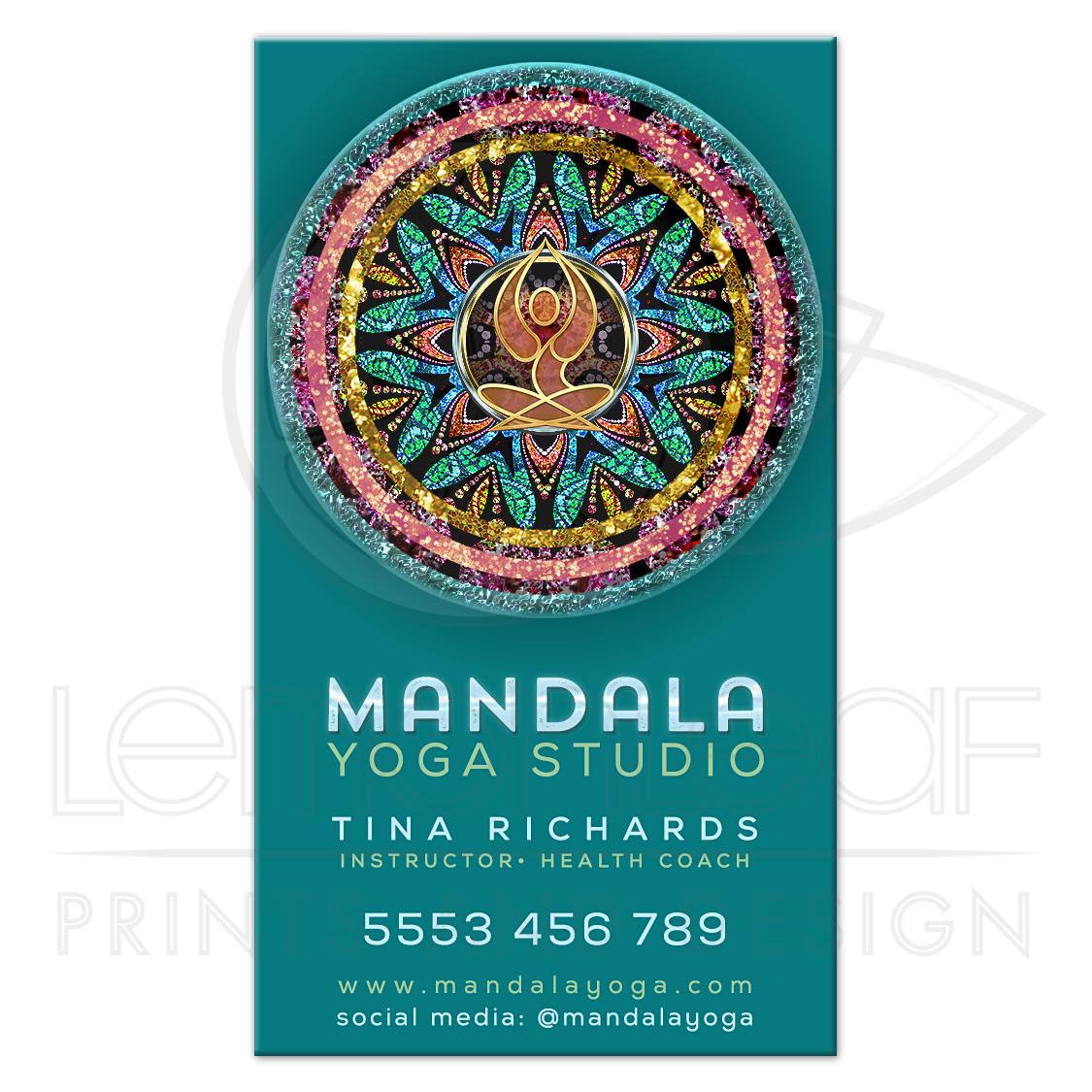 Mandala Yoga Goddess Teal Business Card