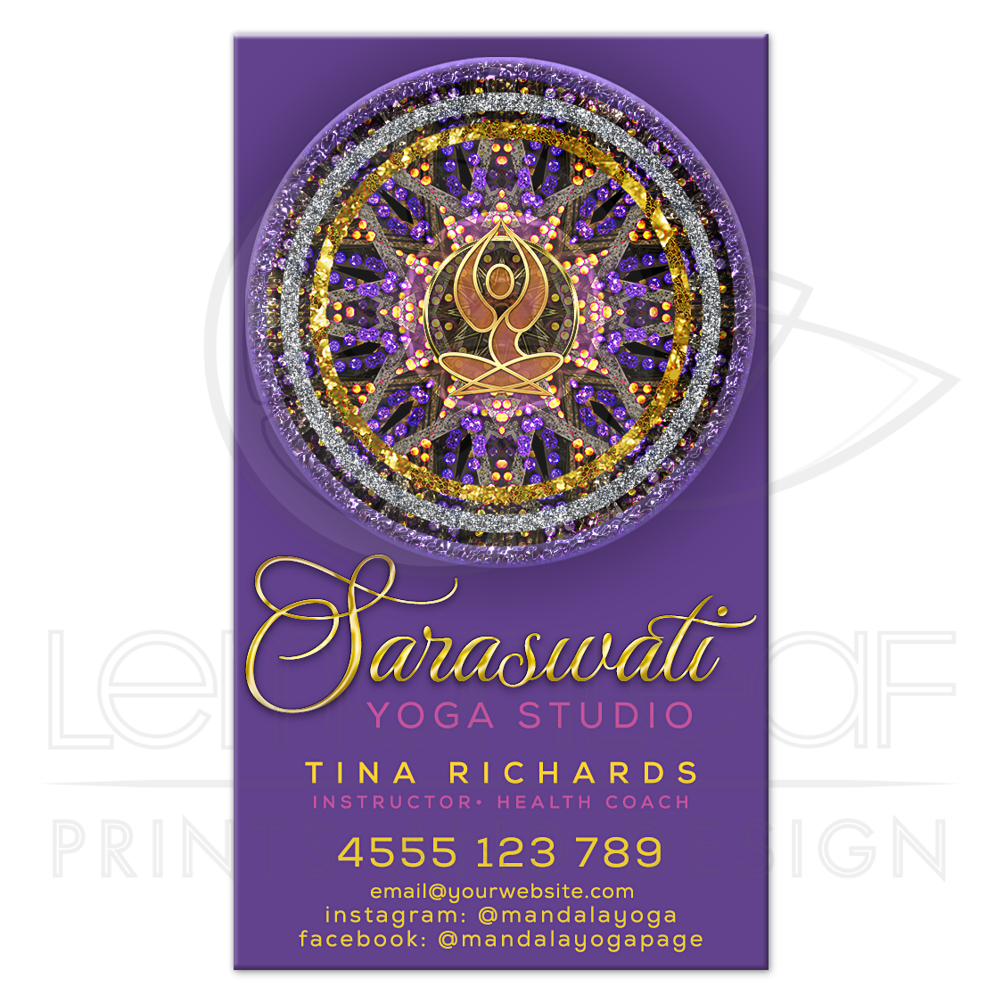 Mandala yoga goddess purple business card mandala yoga goddess purple and gold business card colourmoves