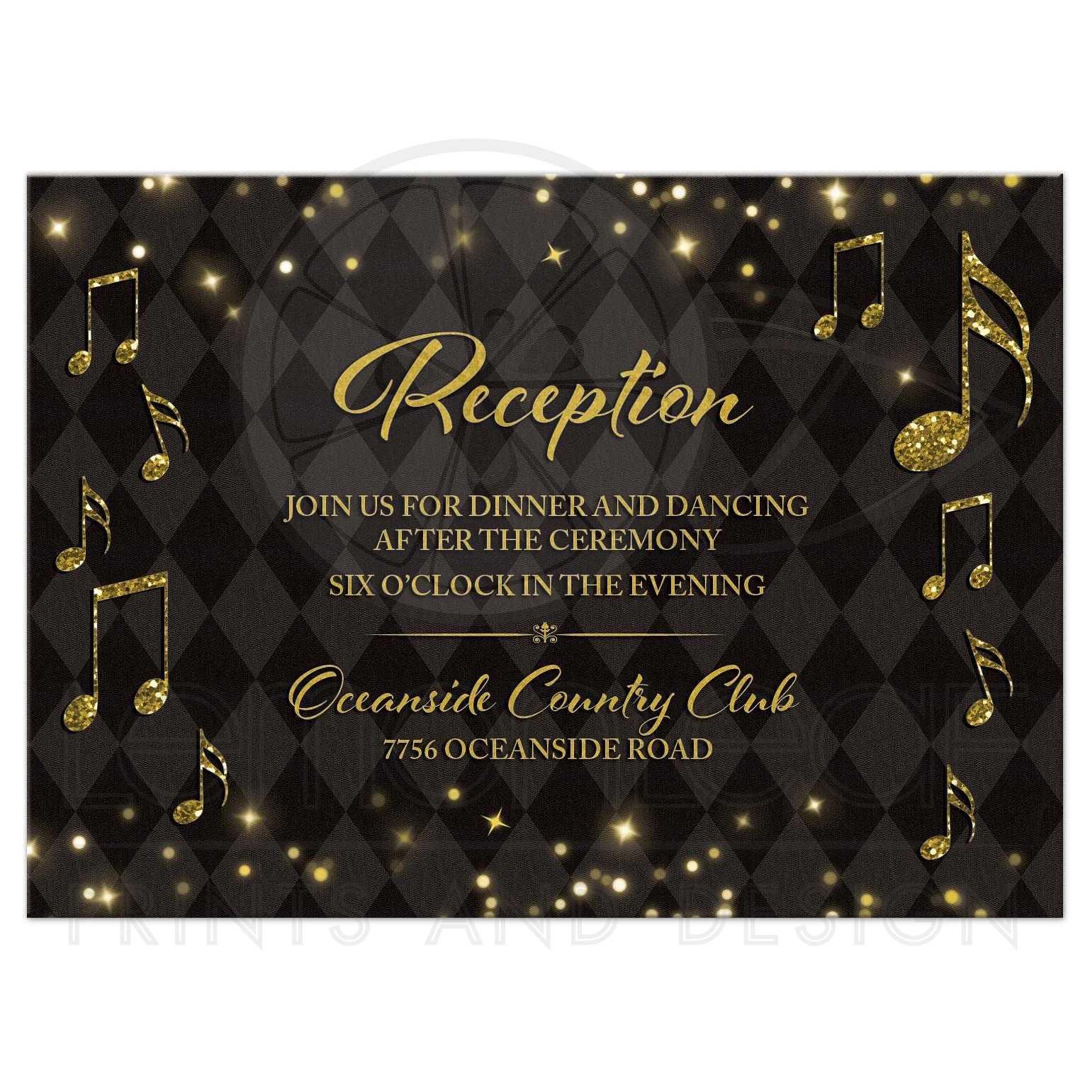 Black Gold Harlequin Music Wedding Reception Card