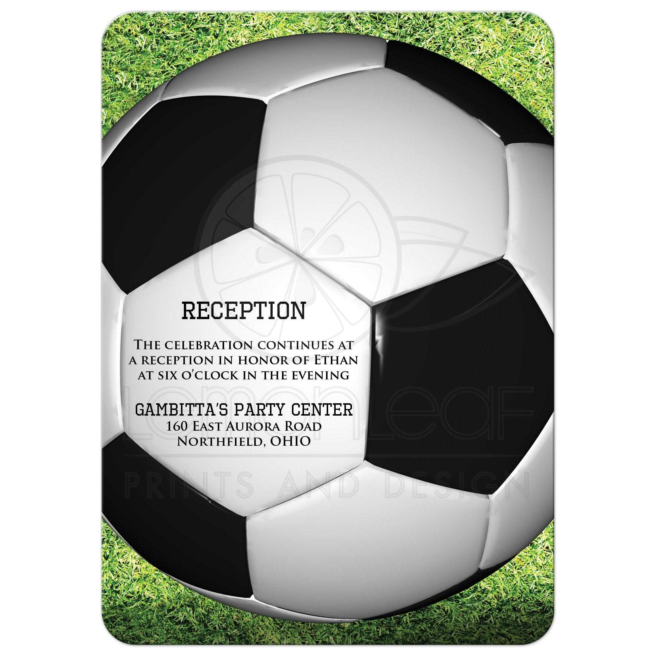 Soccer Ball on Grass Bar or Bat Mitzvah Invitation with Star of David