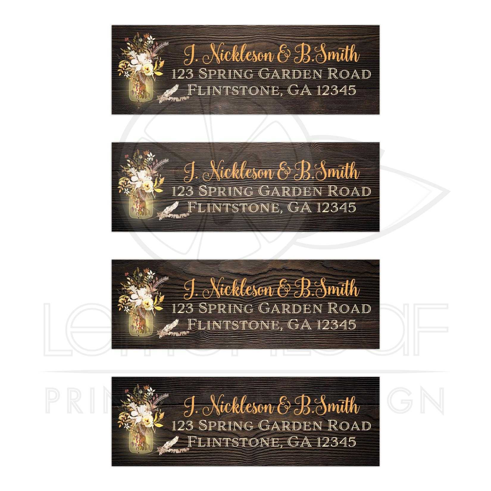 Personalized Wedding Return Address Labels With Yellow Orange And Ivory Watercolor Flowers Stems