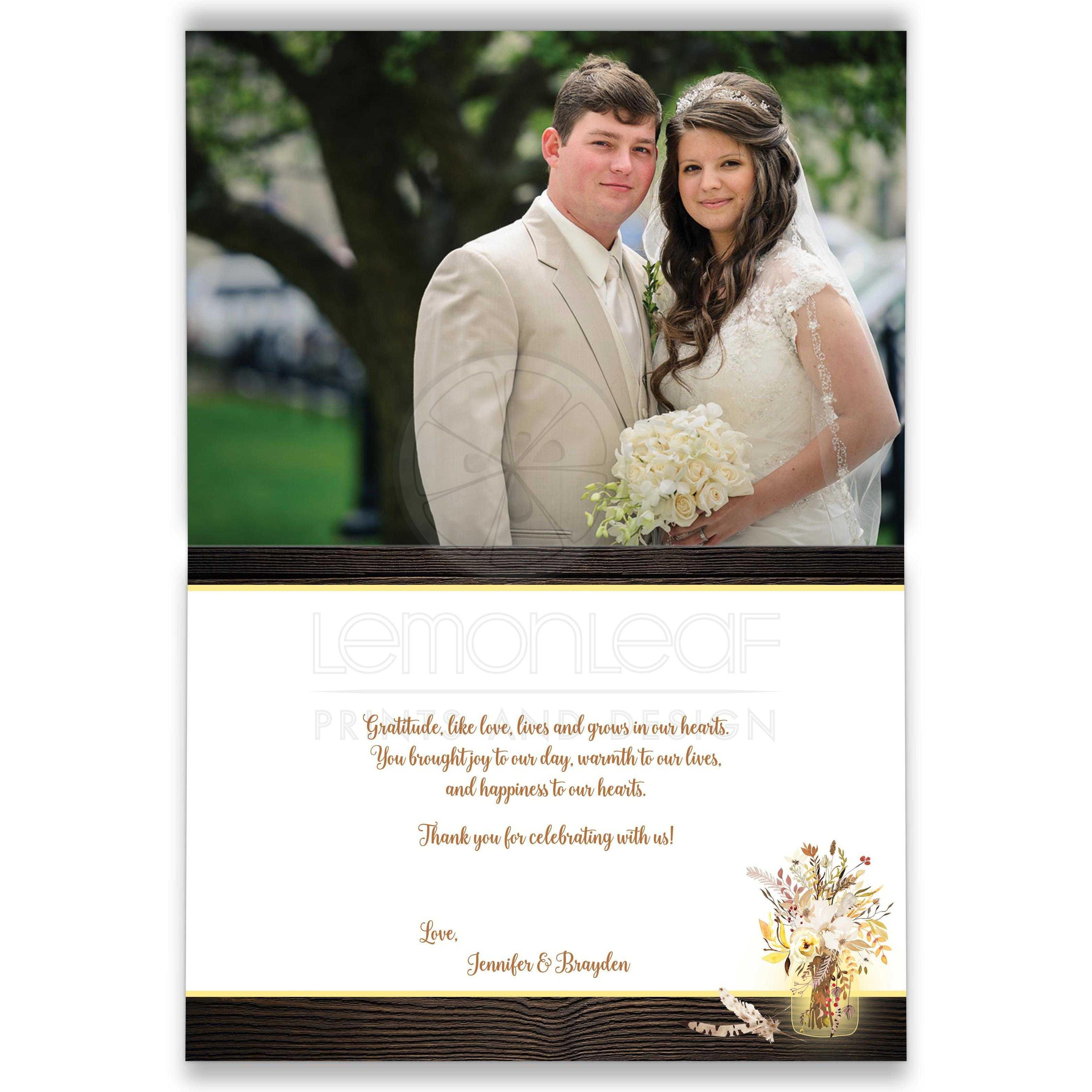 PHOTO Optional Wedding Thank You Card Mason Jars String Lights