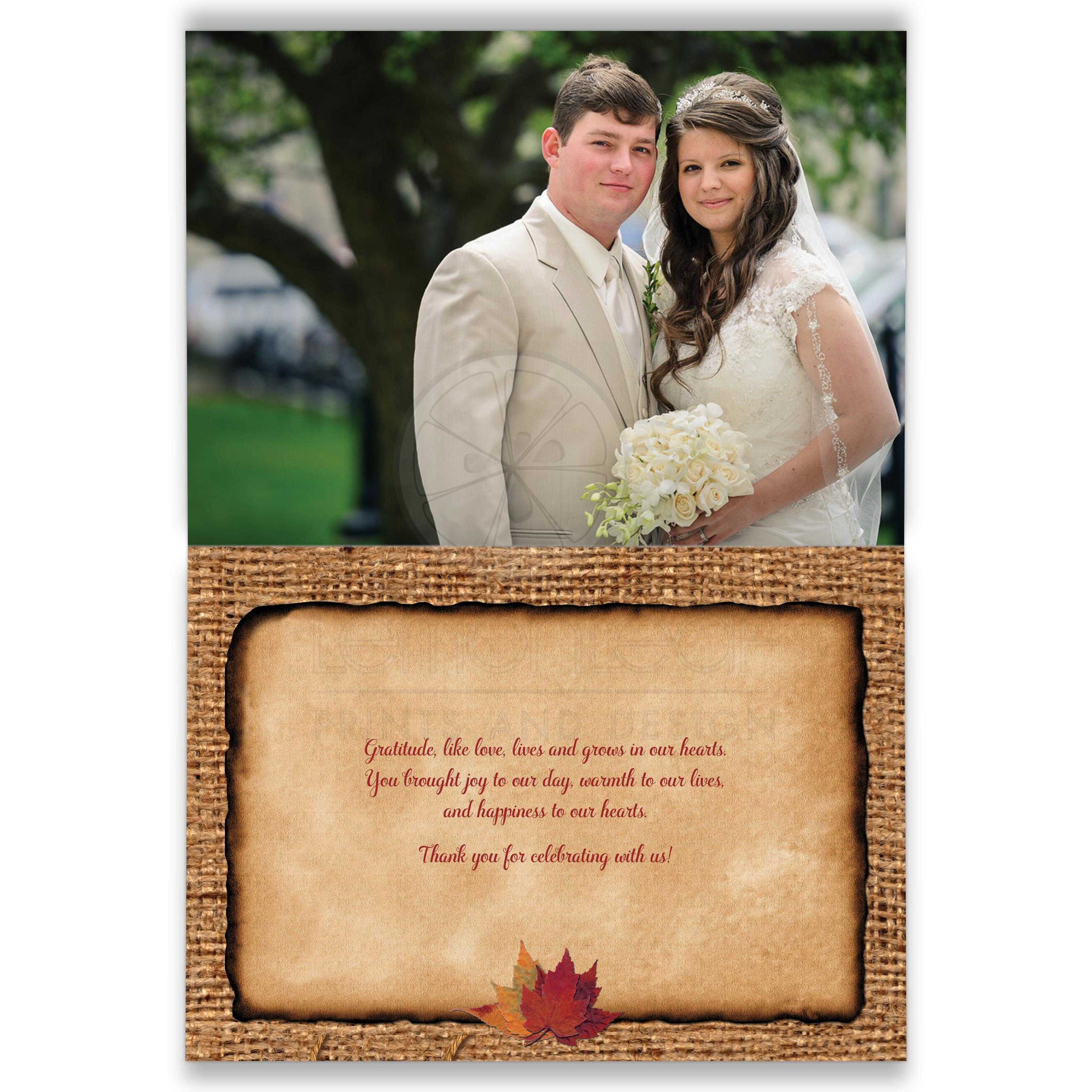 Rustic Burlap Photo Template Wedding Thank You Card With A Burgundy Wine Ribbon Golden
