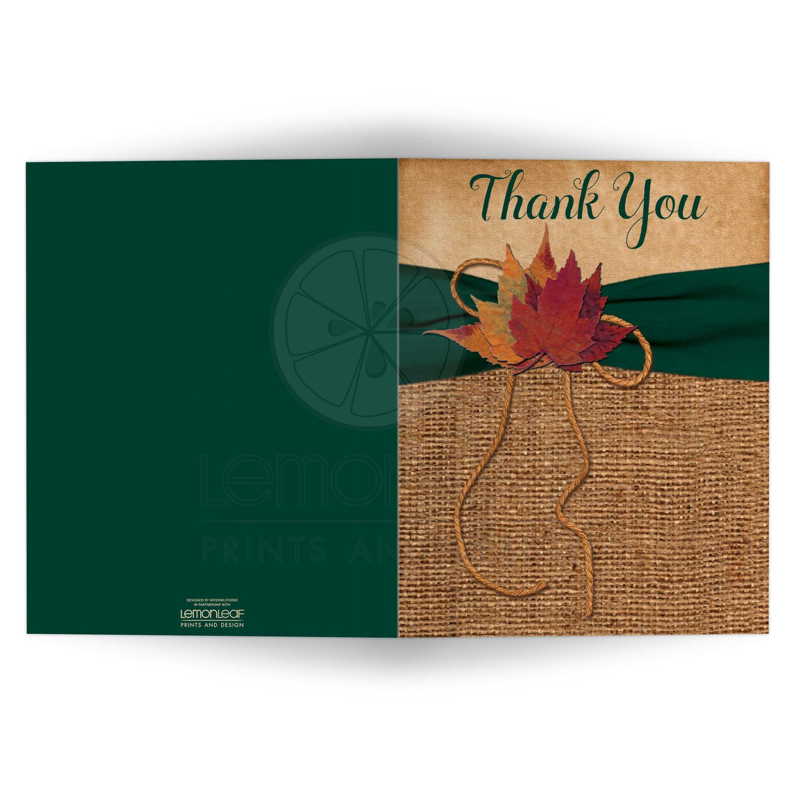Rustic Autumn Leaves Wedding Thank You Card Printed On Hunter