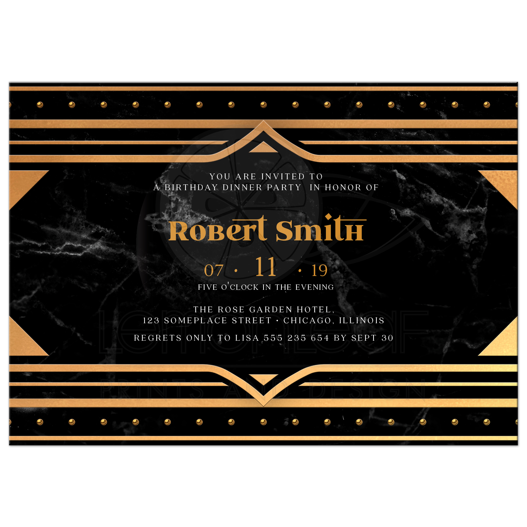 Black and Gold 75th Birthday Invitations | Art Deco Dinner Party