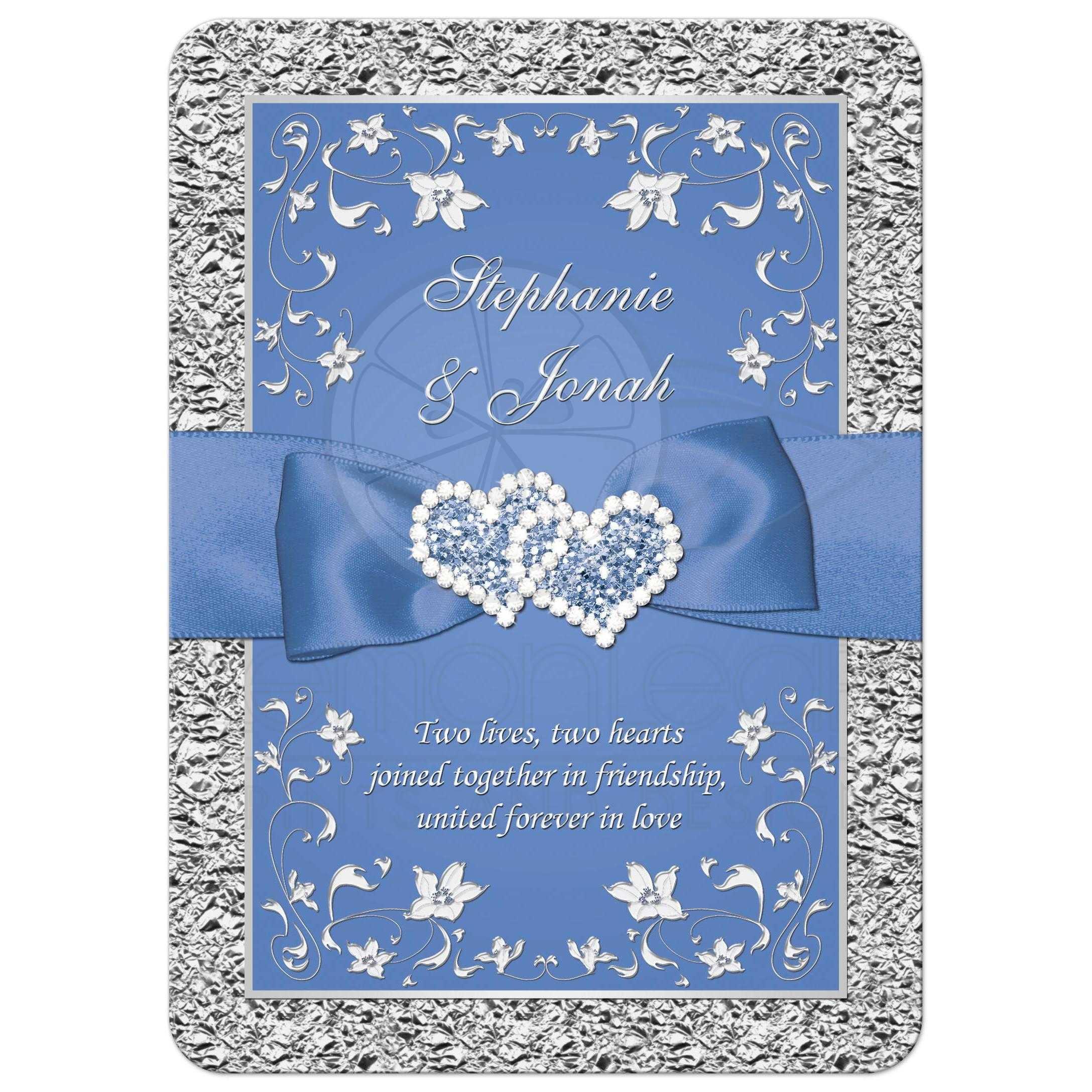 Wedding Invitations Blue And Silver: Cornflower Blue And Silver Gray Floral Wedding Invitation