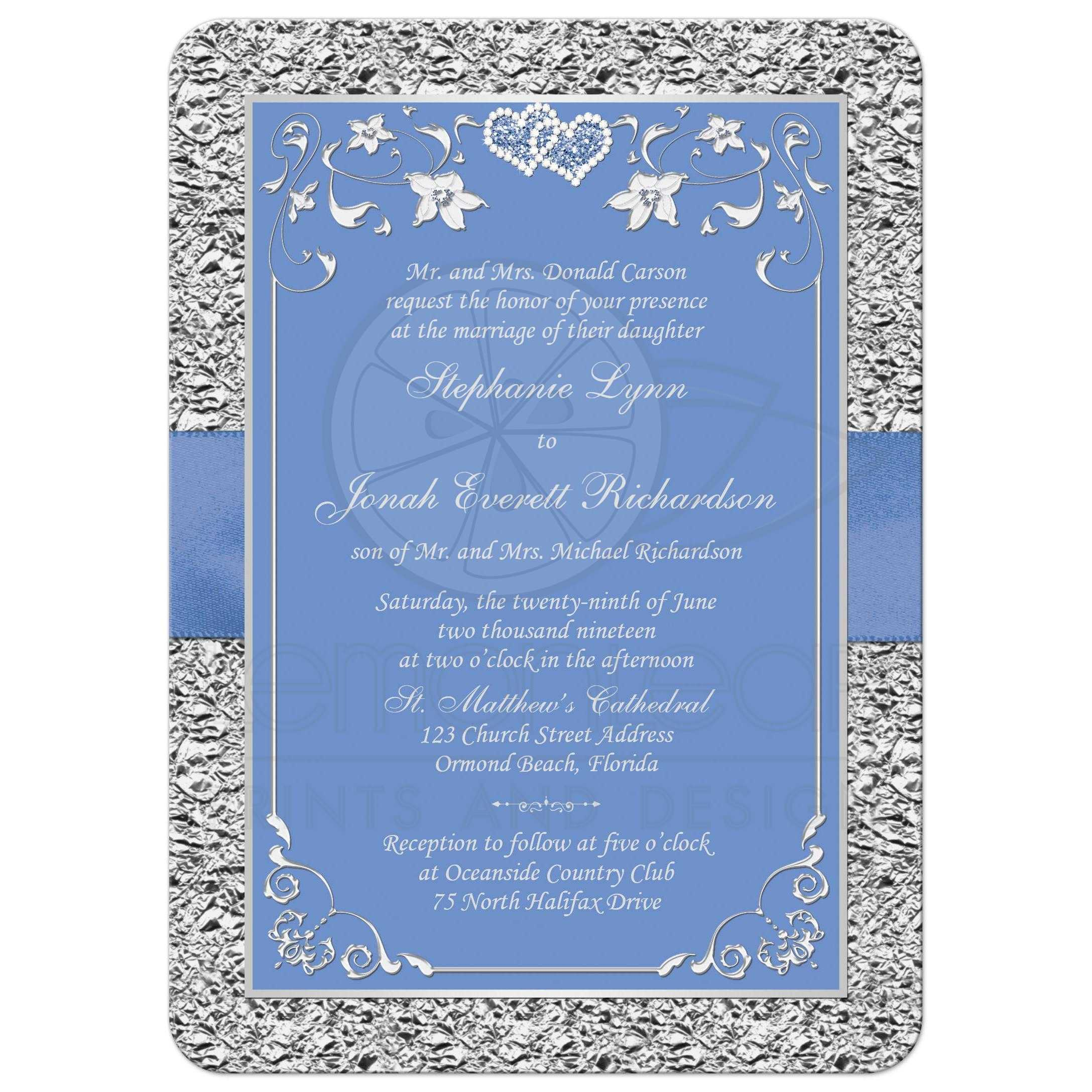 Cornflower Blue and Silver Gray Floral Wedding Invitation | PRINTED ...