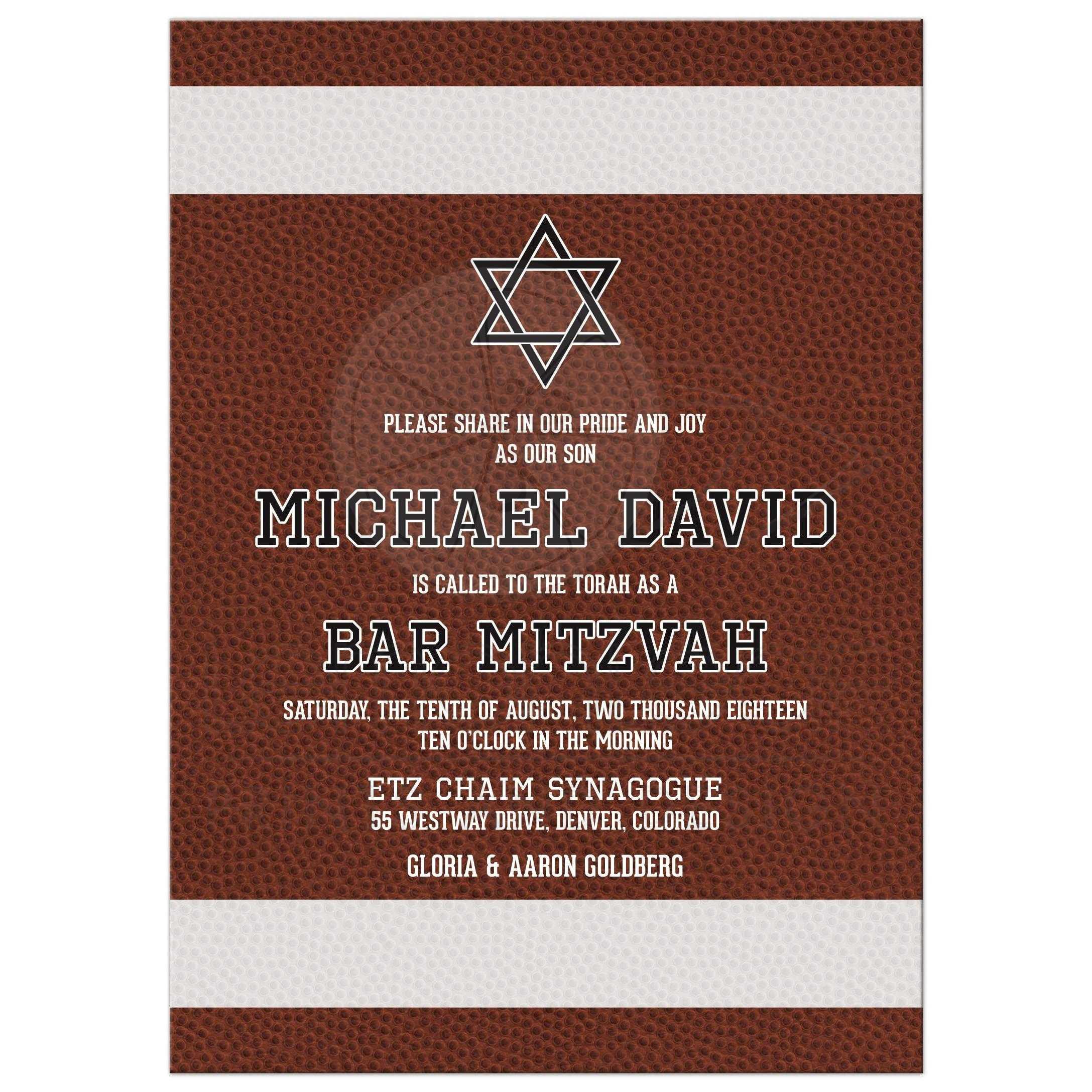 American Football Bar Mitzvah Invitation Brown White Black