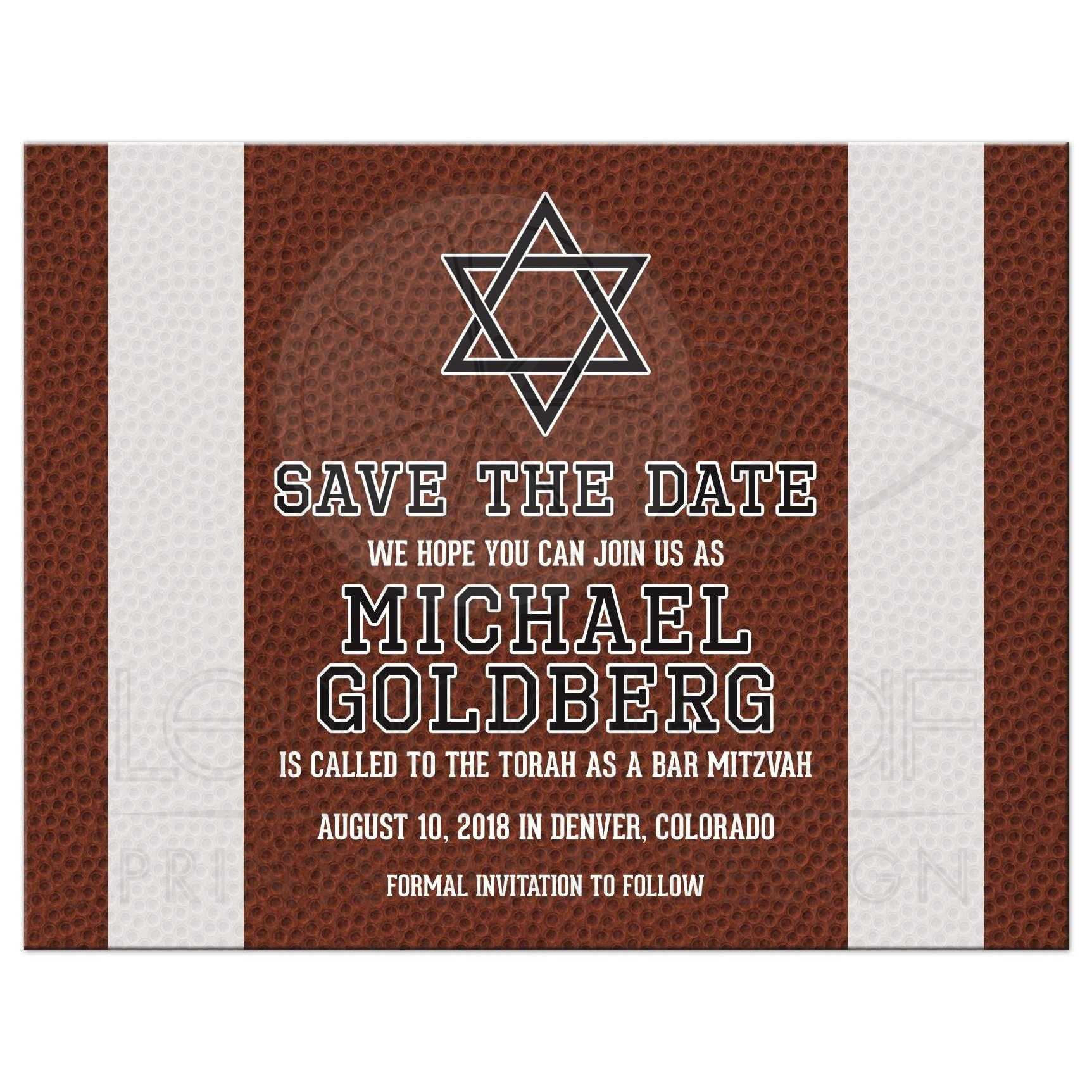 American Football Bar Mitzvah Save the Date Postcard Brown Green
