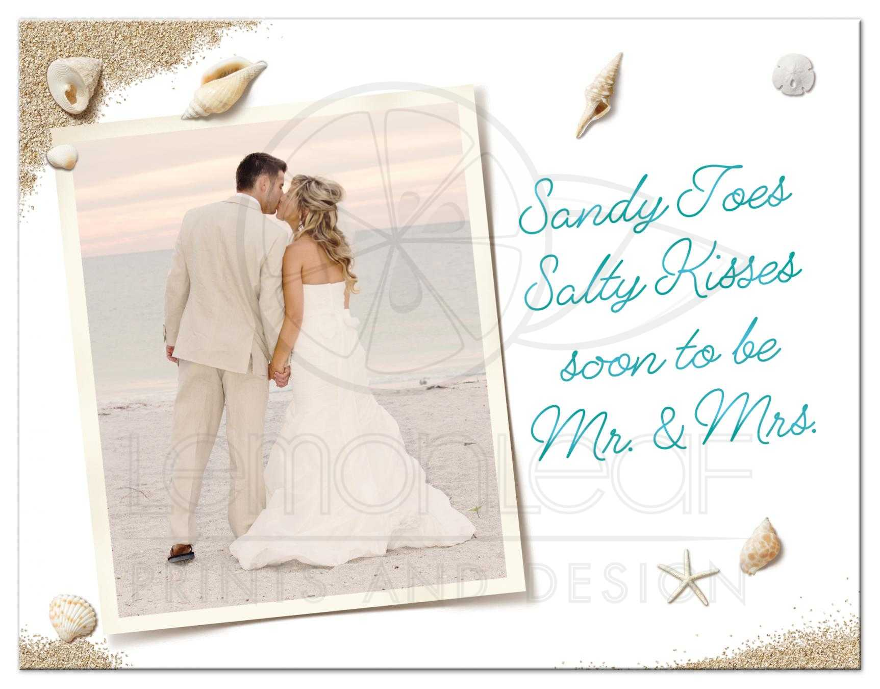 Photo Save the Date Postcard - Beach Sandy Toes Salty Kisses - turquoise