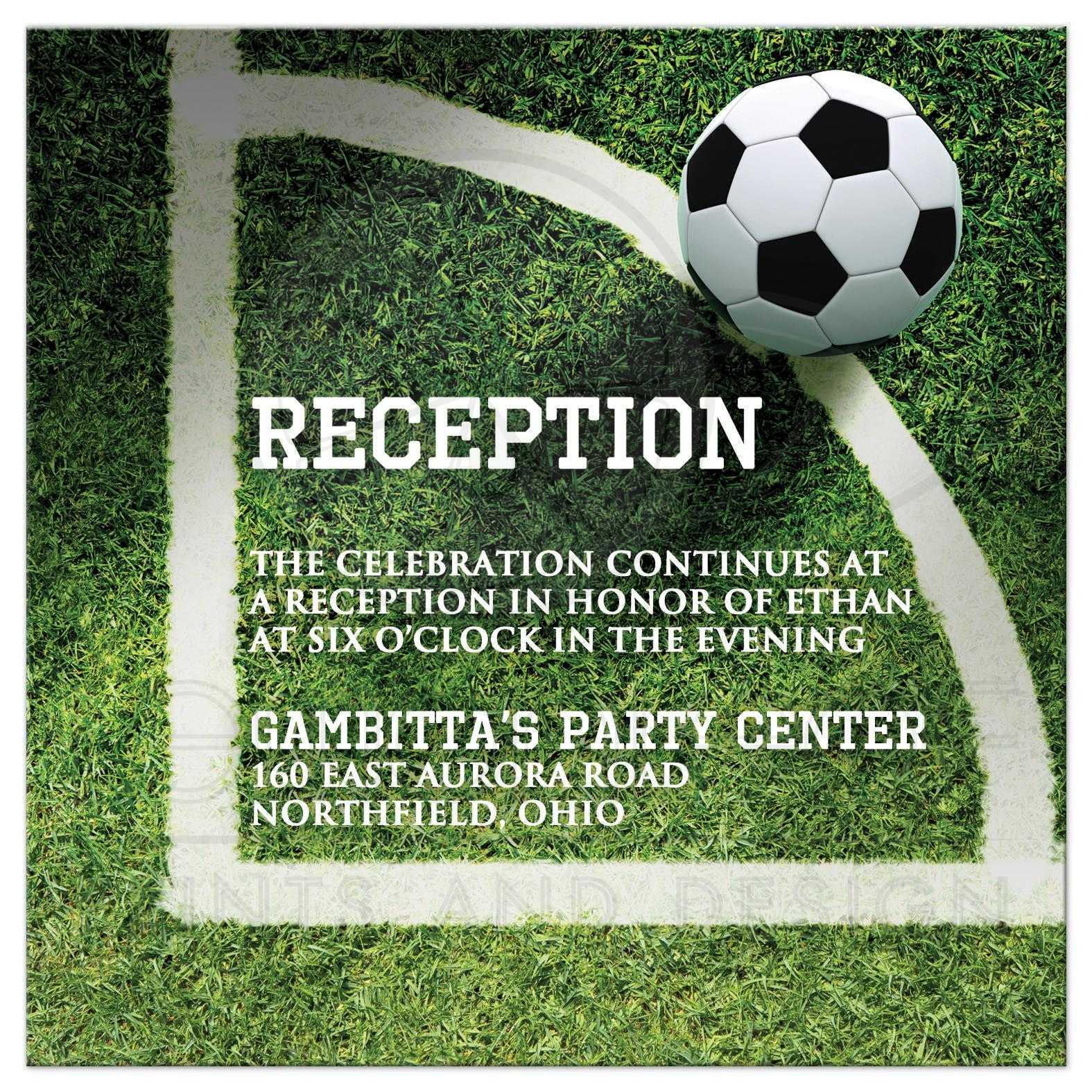 Soccer Ball On Field Bar Or Bat Mitzvah Reception Invitation