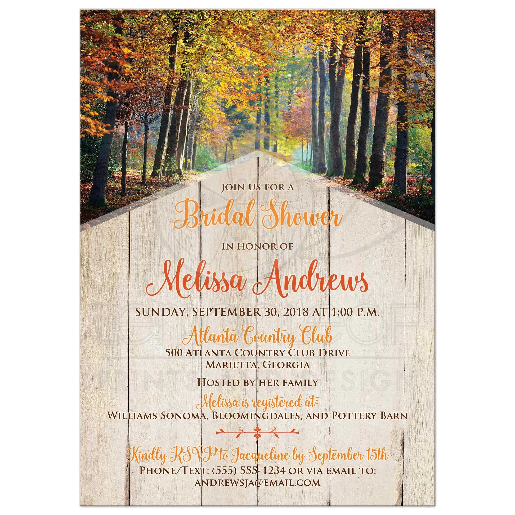 Autumn forest faux wood bridal shower invitation autumn trees bridal shower invitations with tan wood and brown orange yellow filmwisefo