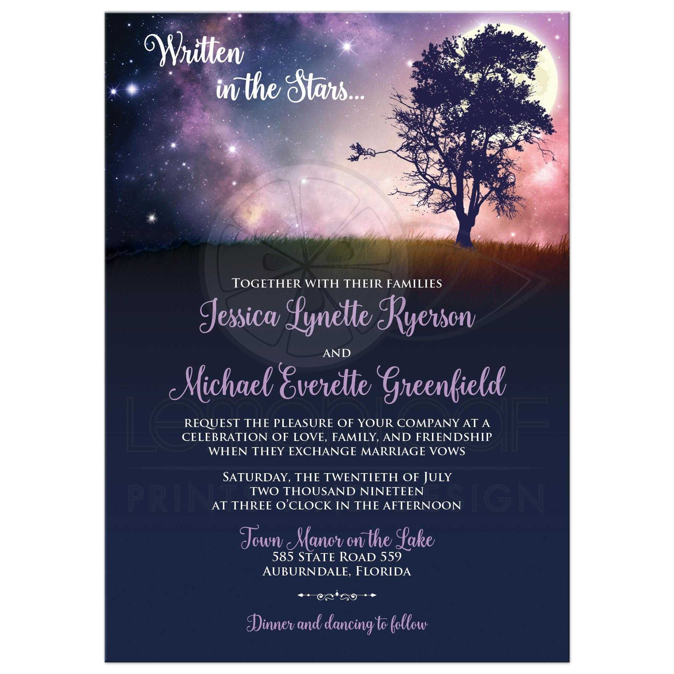 Written in the Stars Wedding Invitation with Full Moon and Tree