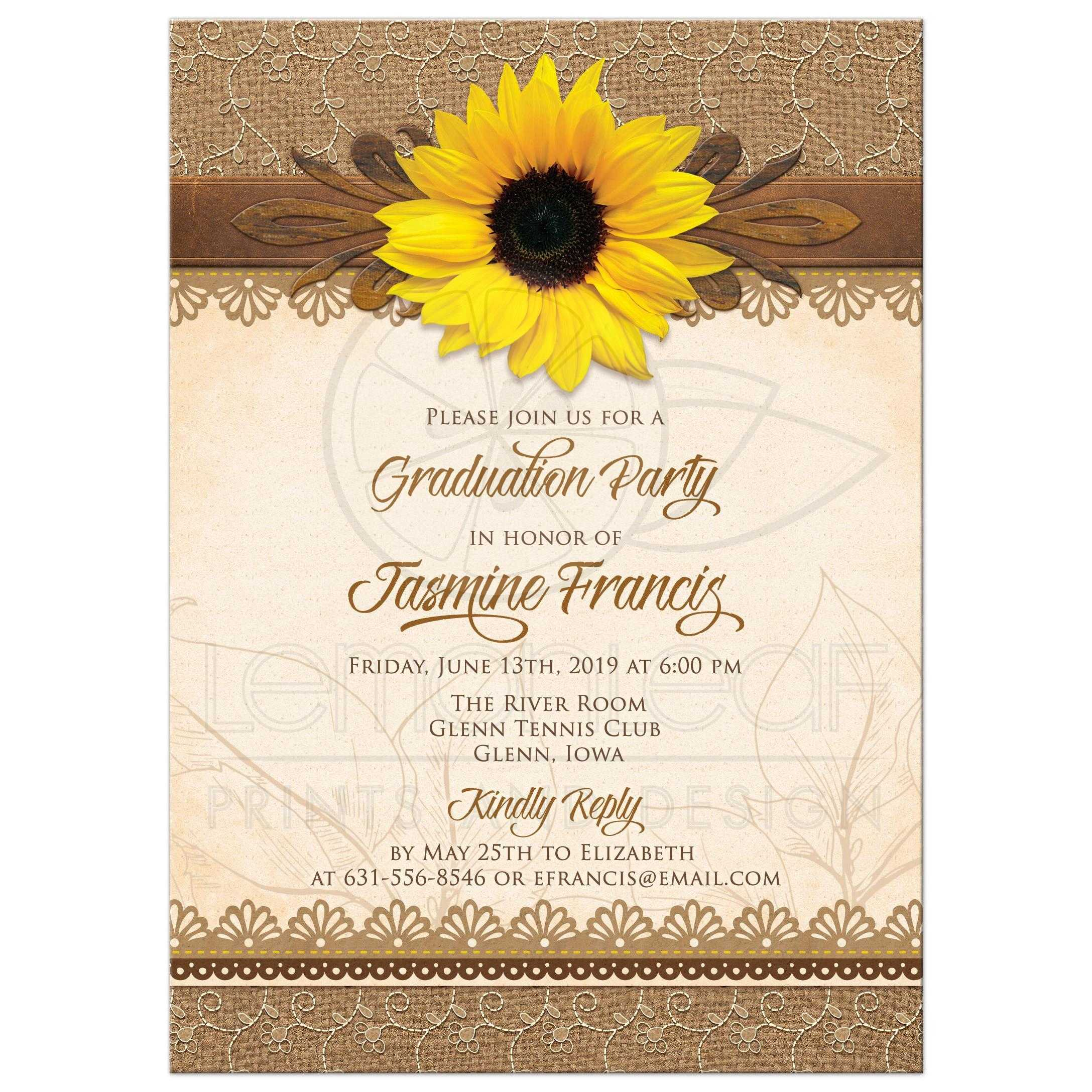 Rustic Graduation Invitation With Sunflower Burlap Lace And Wood Front