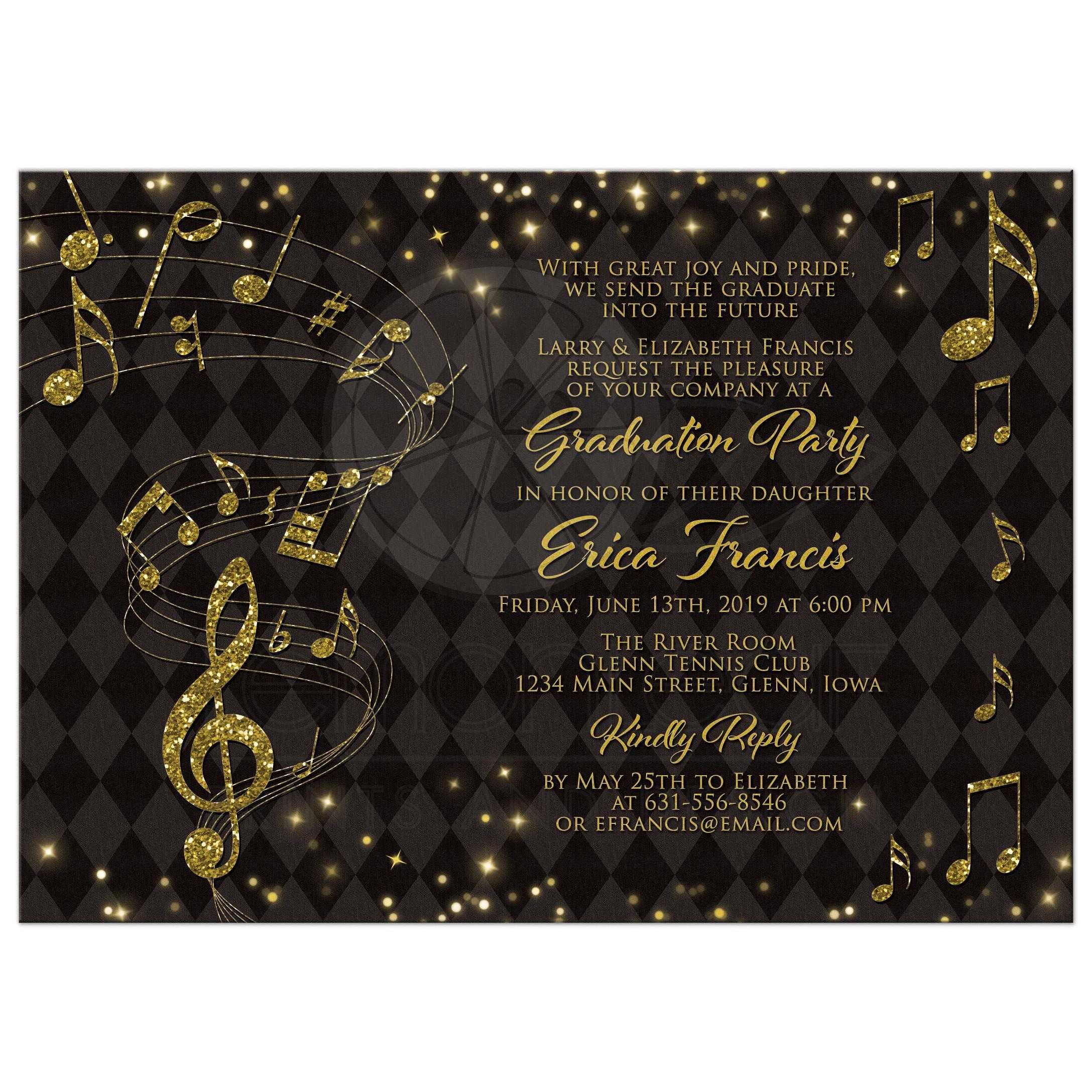 Music Graduation Party Invitation Black Gold Music Notes