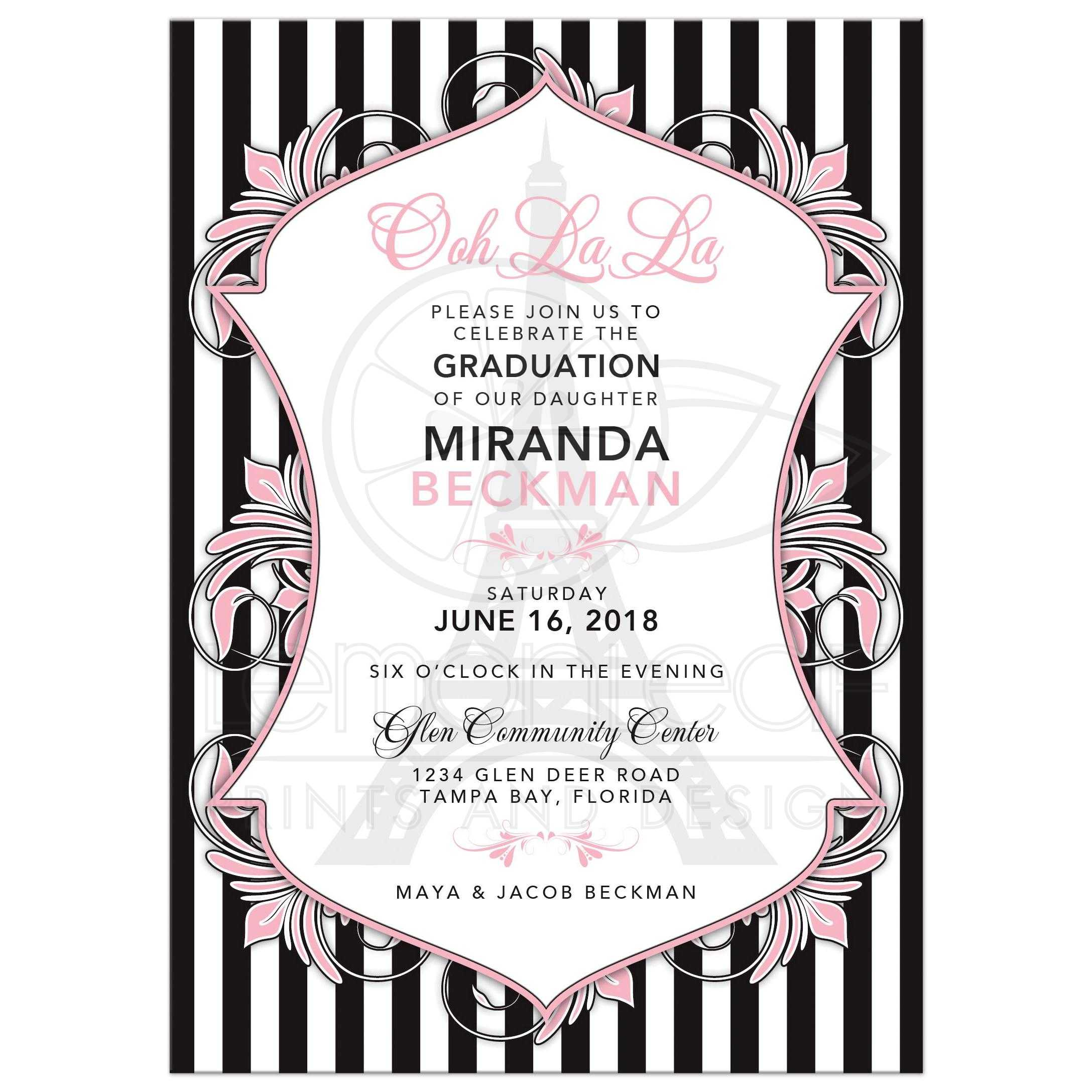 Paris Eiffel Tower Graduation Invitation Chic Pink Black
