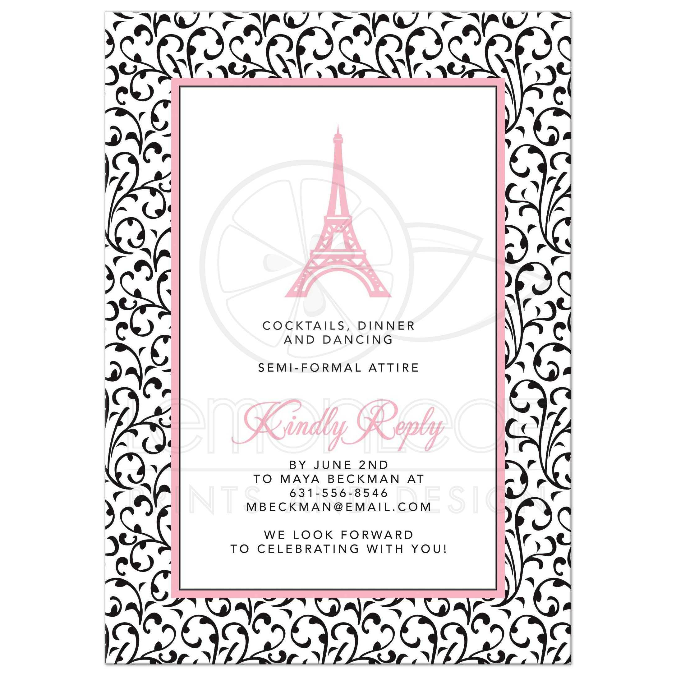 Paris eiffel tower graduation invitation chic pink black chic eiffel tower or paris themed pink black and white graduation party invitation back filmwisefo