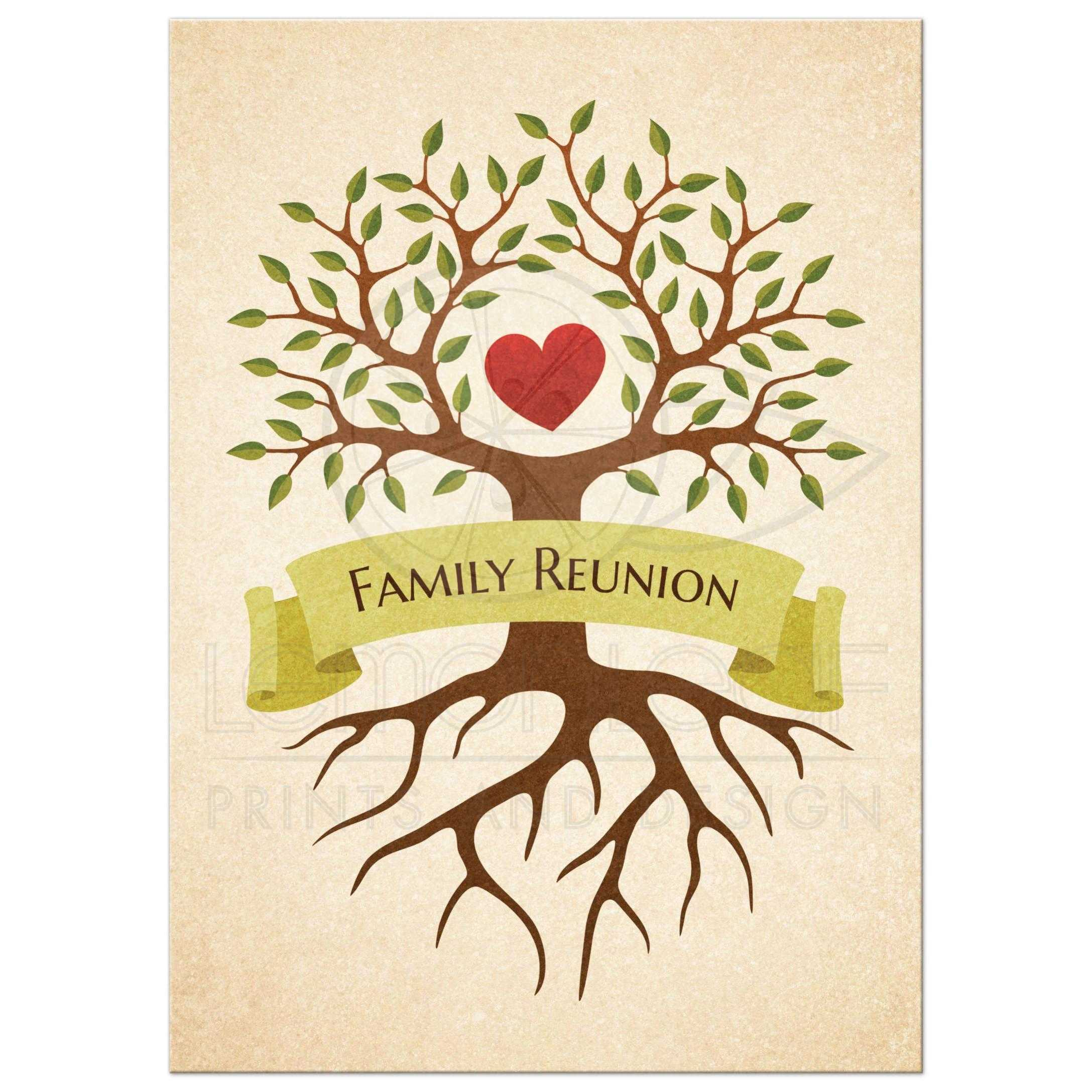 9d67a8a66 Family reunion invitations with beautiful tree and heart ...