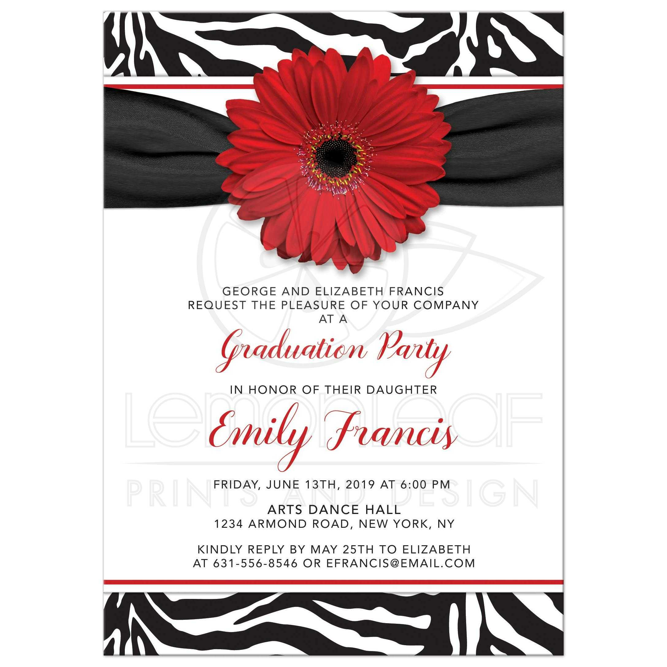Chic Zebra Print Red Daisy Graduation Invitation