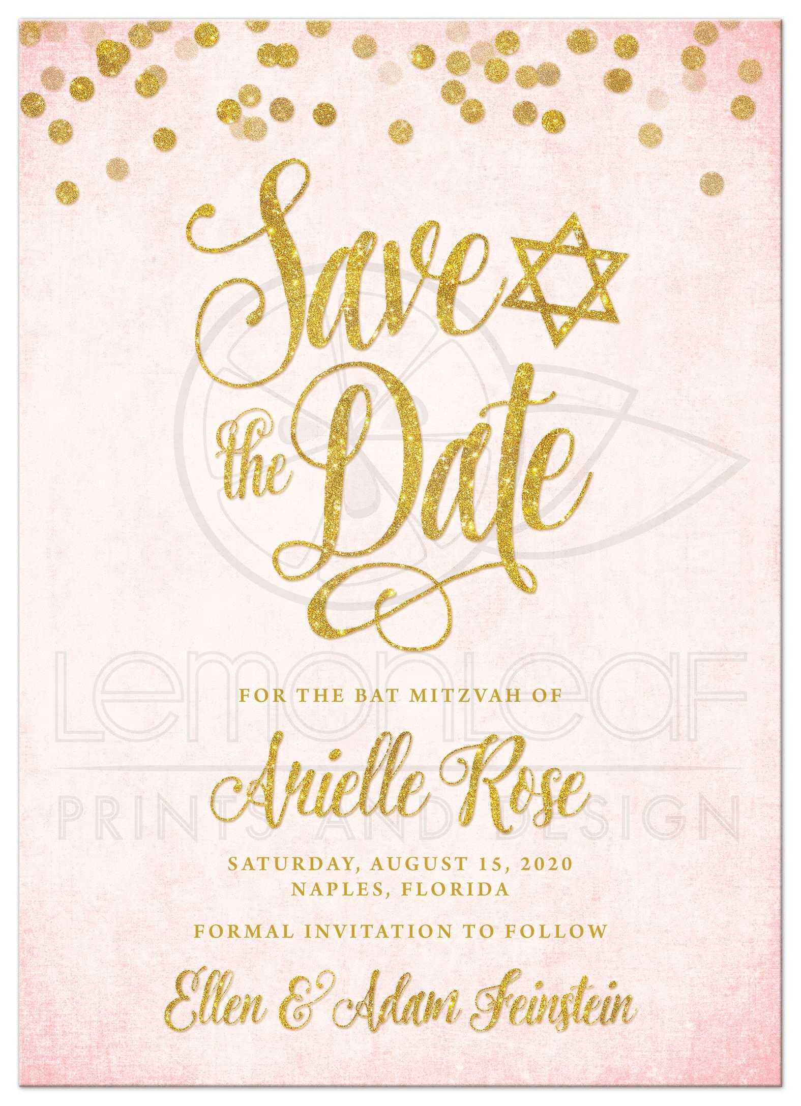 Blush pink gold bat mitzvah save the dates blush pink gold bat mitzvah save the date cards by the spotted olive front m4hsunfo
