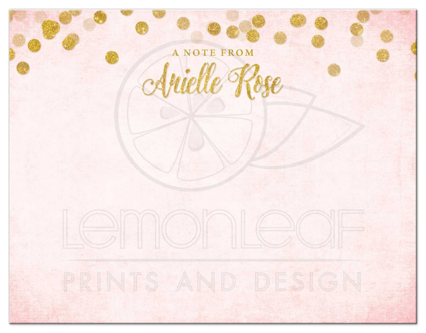 Blush Pink Gold Personalized Note Cards