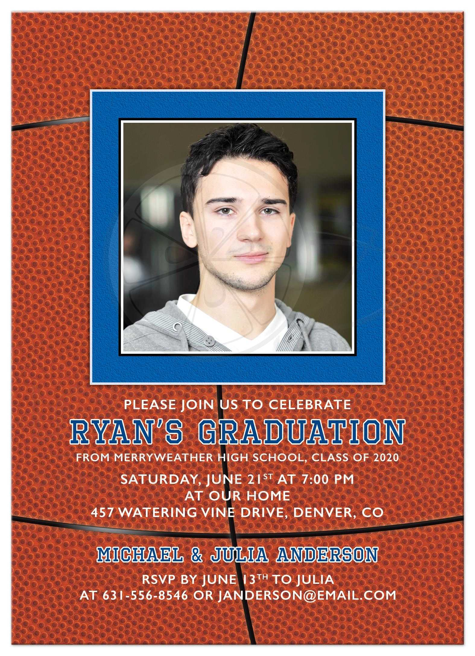 High School Graduation Announcements 2020.Basketball Photo Graduation Party Invitation Orange Blue