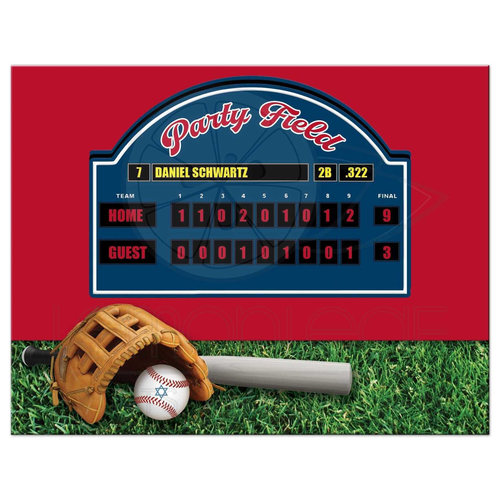 Baseball or Softball Theme Bar Mitzvah Reception or Party Invite