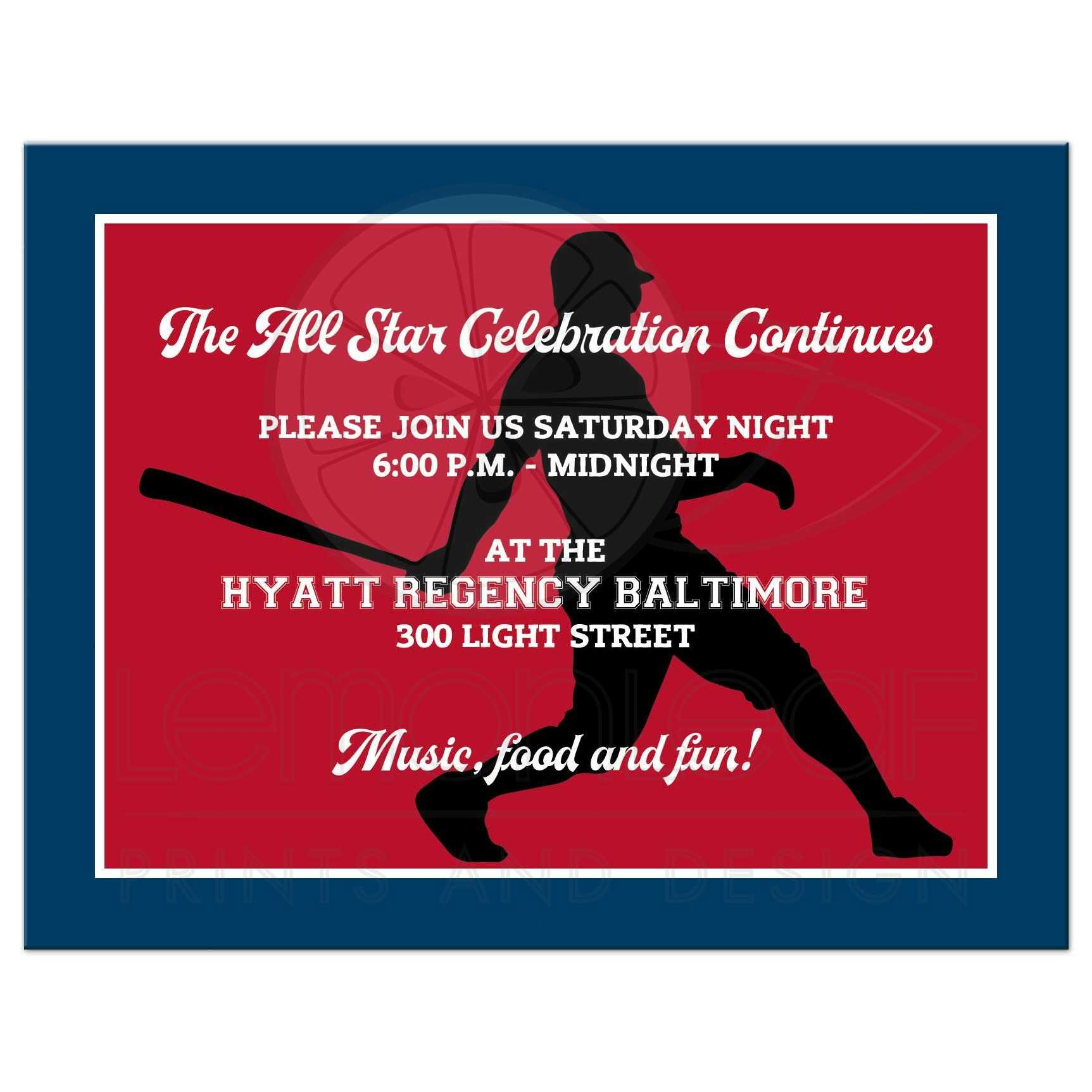 Baseball or Softball Theme Bar Mitzvah Reception or Party Invite