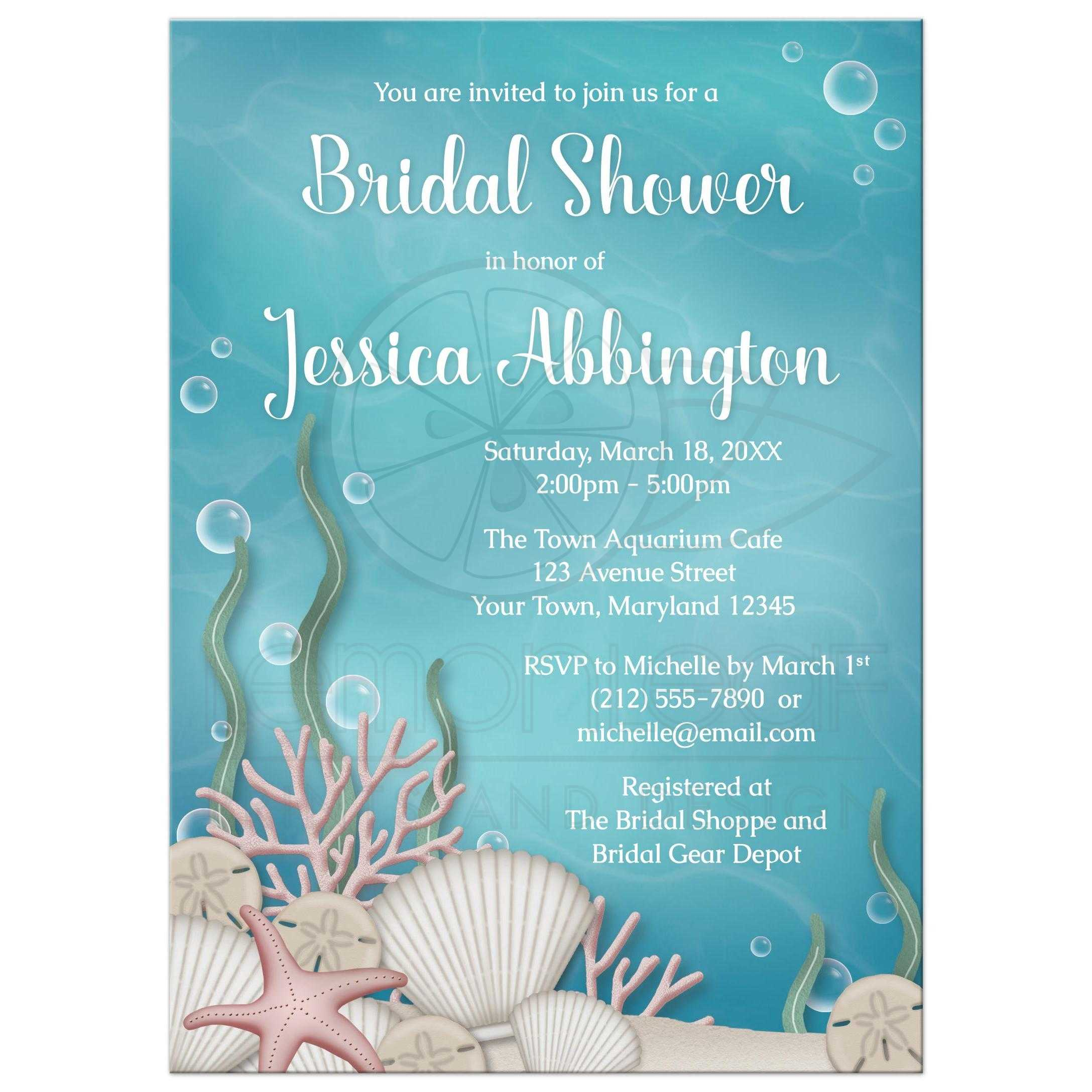 Bridal shower invitations whimsical under the sea filmwisefo