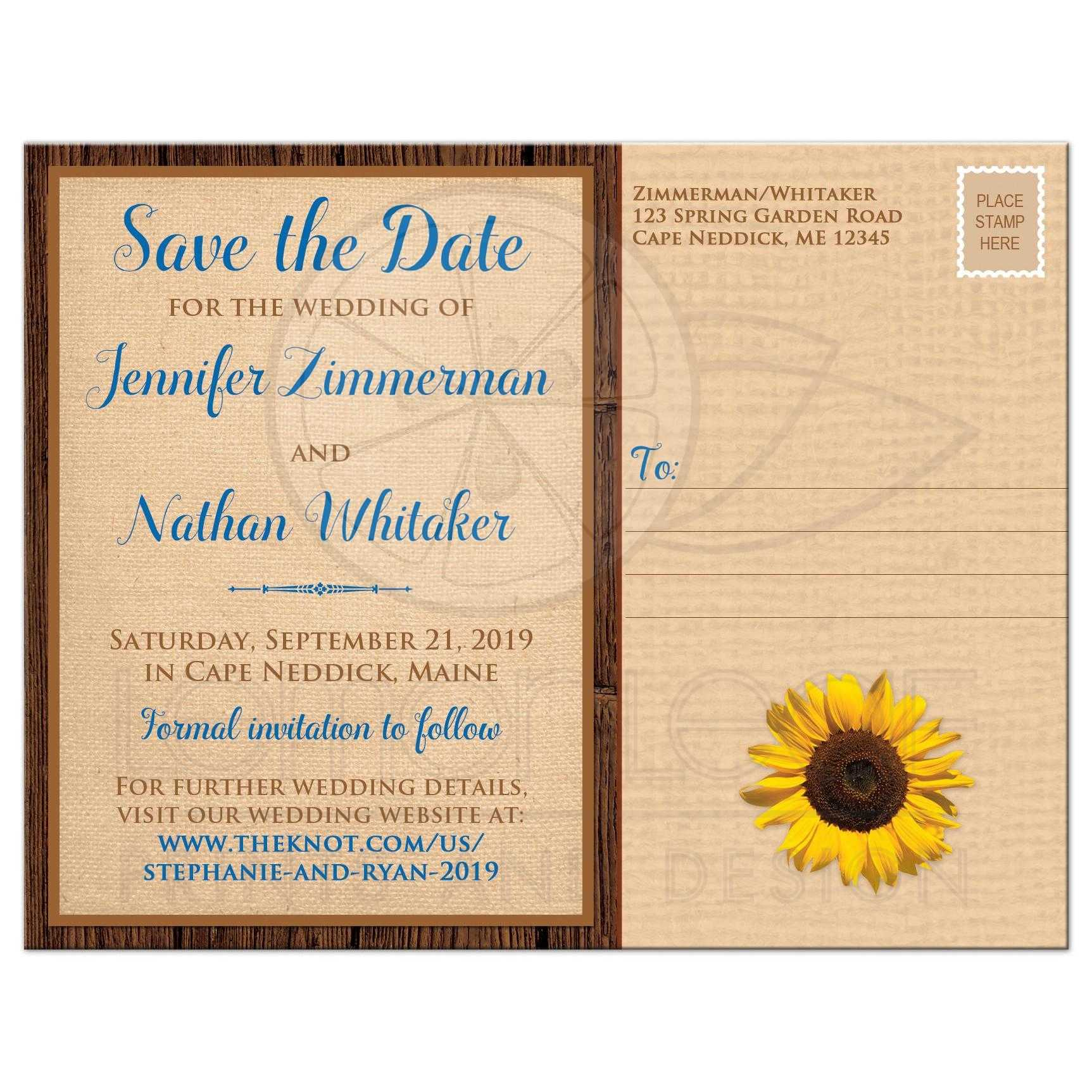 sunflower on faux burlap printed blue ribbon save the date card