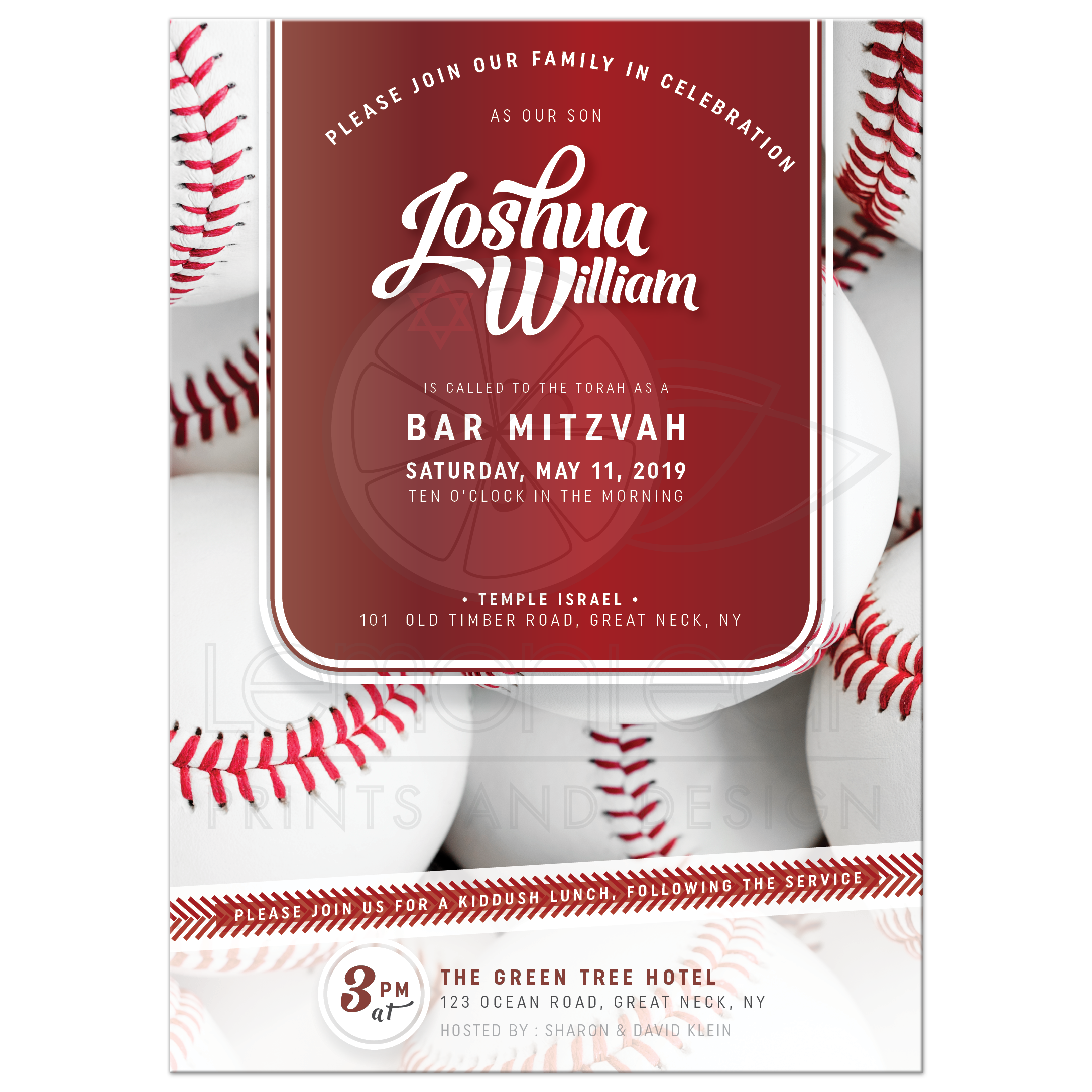 Baseball Bar Mitzvah Invitation | Red and White Sports theme