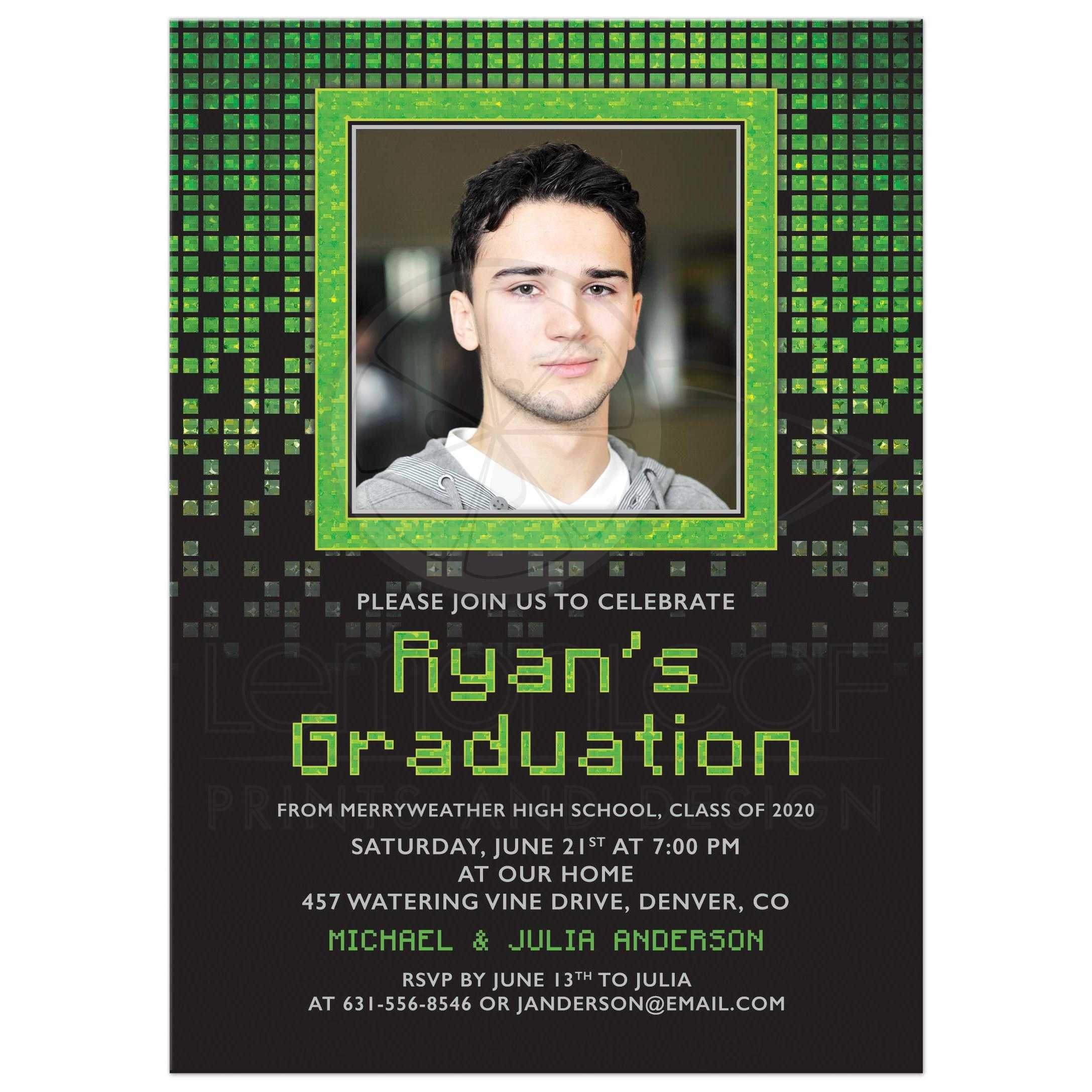 Gamer Computer Green Photo Graduation Invitation | Video Game Pixels