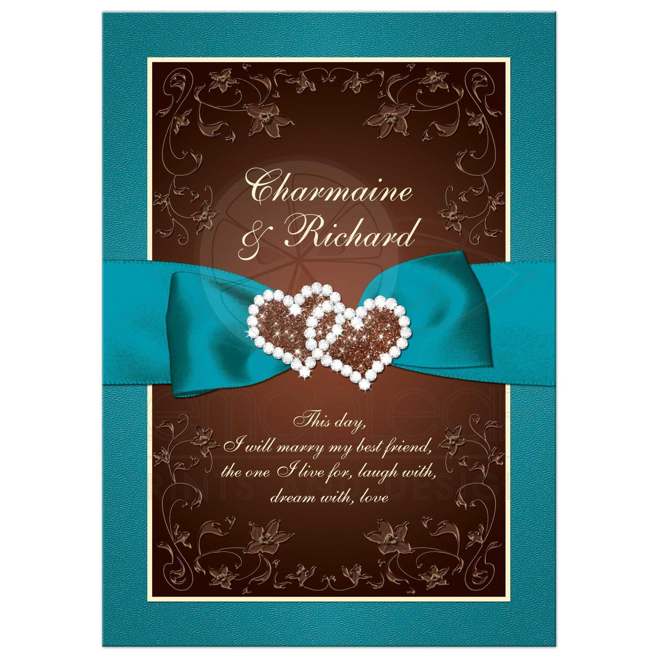 teal  brown  cream floral wedding invite