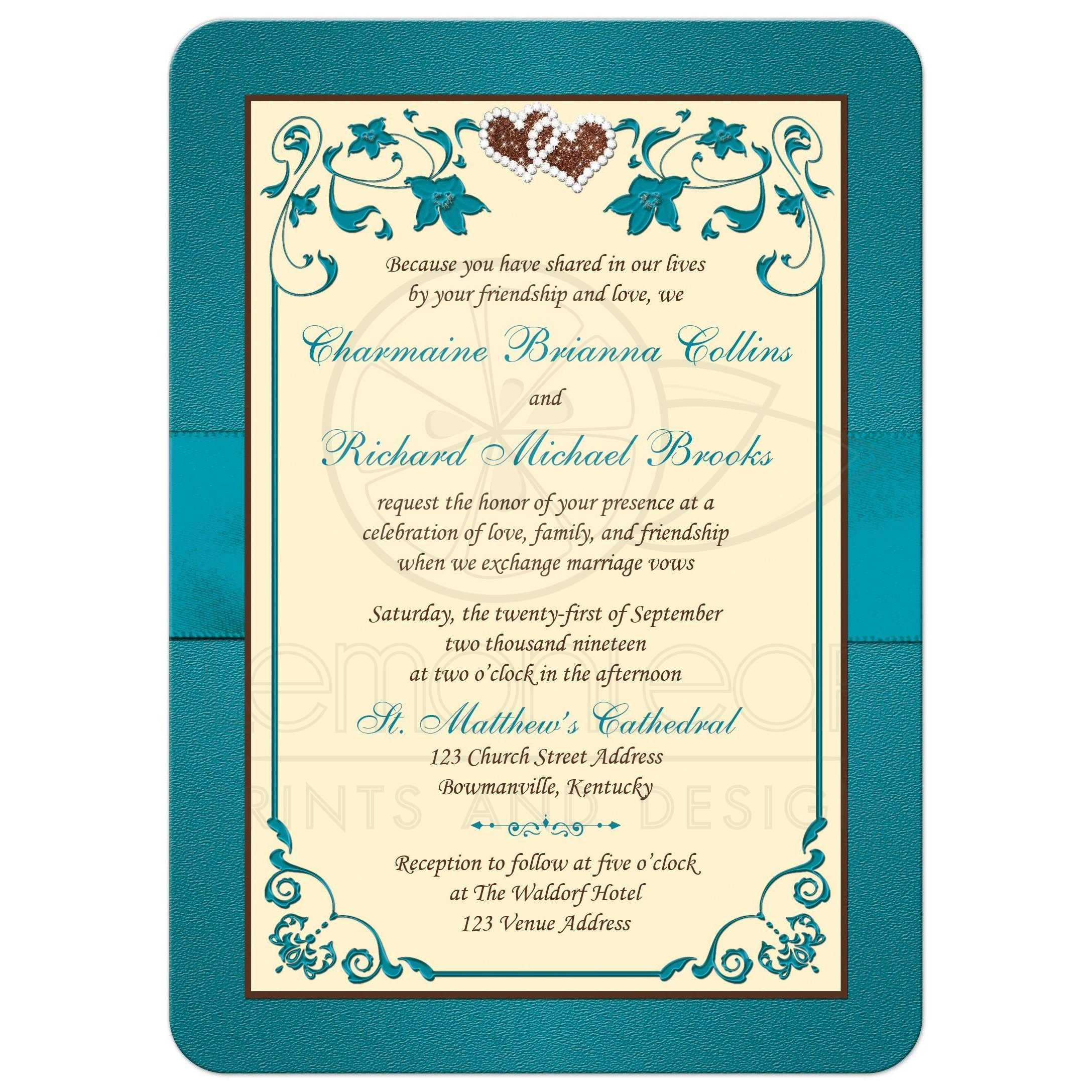 Teal Green Chocolate Brown And Cream Floral Wedding Invitations With Ribbon Bow: Chocolate Ivory Wedding Invitation At Reisefeber.org