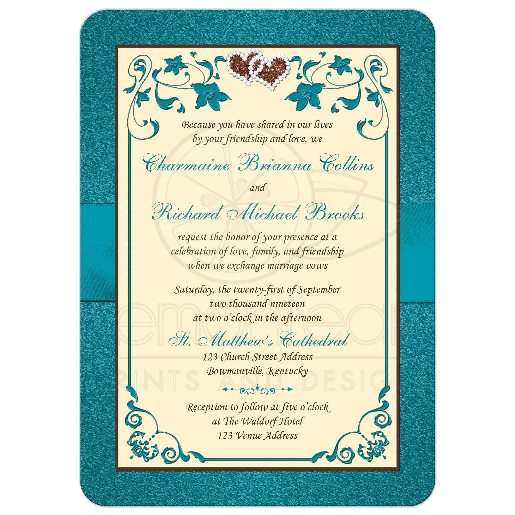 Teal, Brown, Cream Floral Wedding Invite